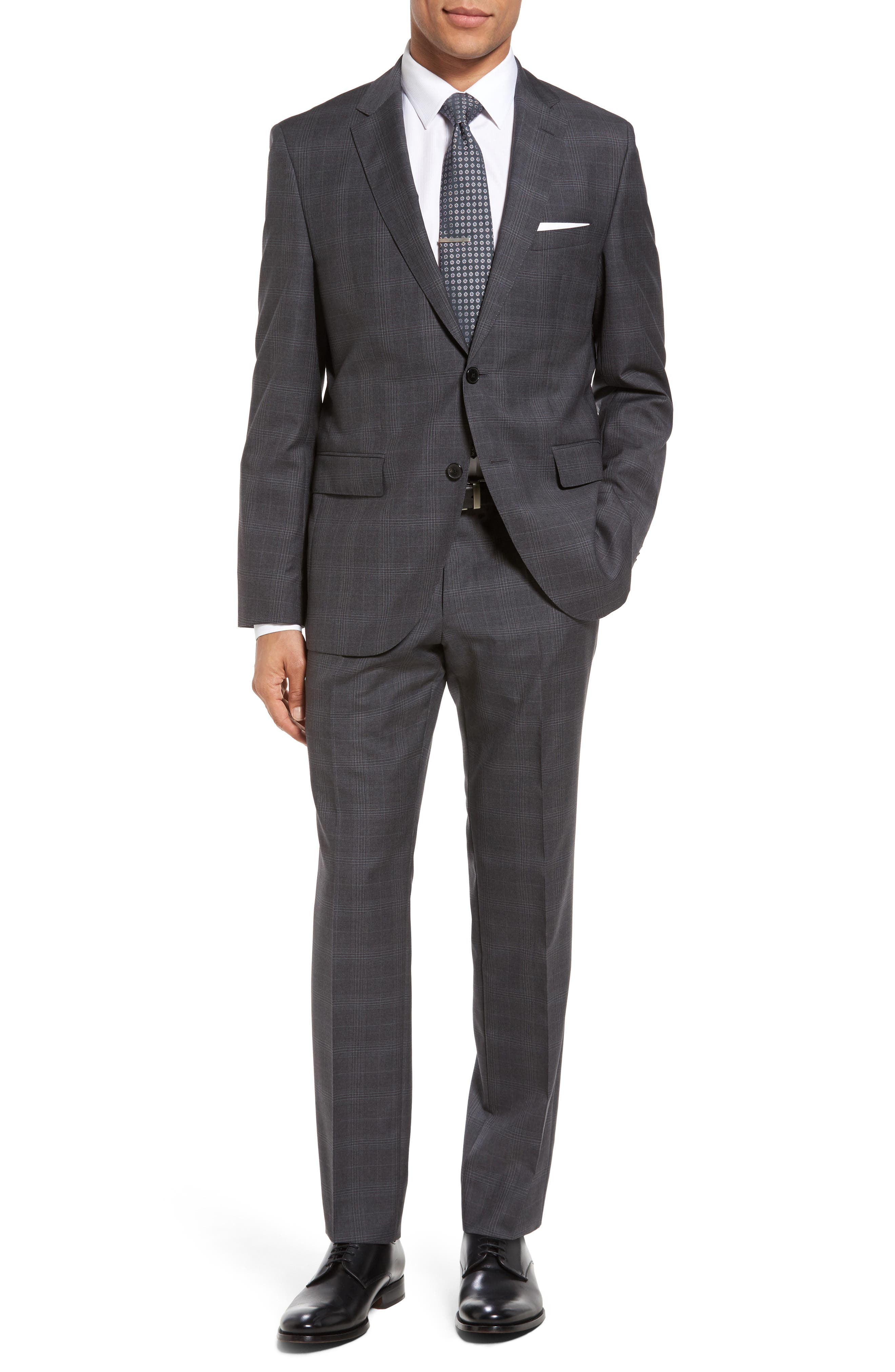 BOSS Johnstons/Lenon 1 Trim Fit Plaid Wool Suit
