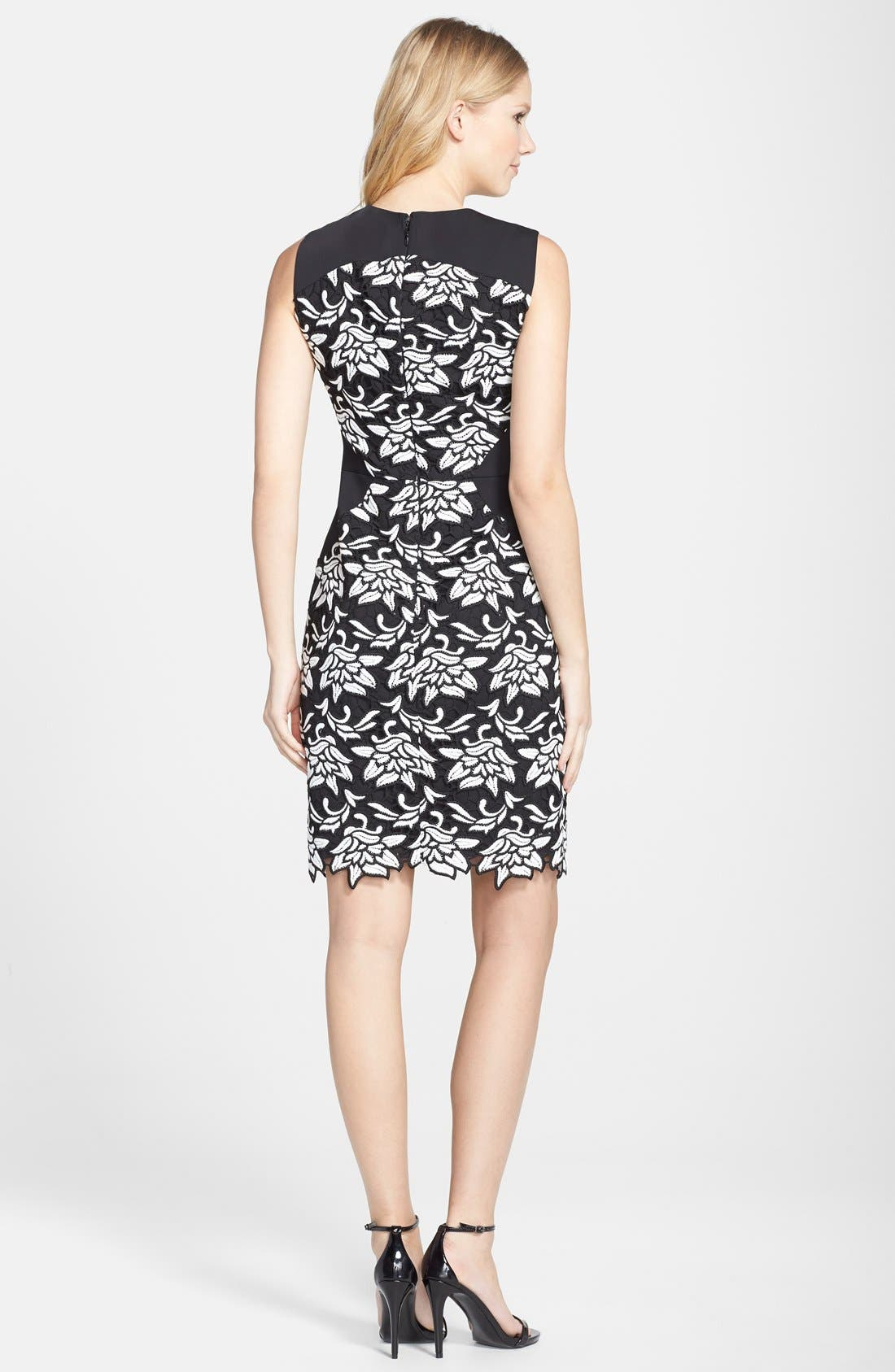 'Laurine' Floral Lace Overlay Sheath Dress,                             Alternate thumbnail 2, color,                             Black White