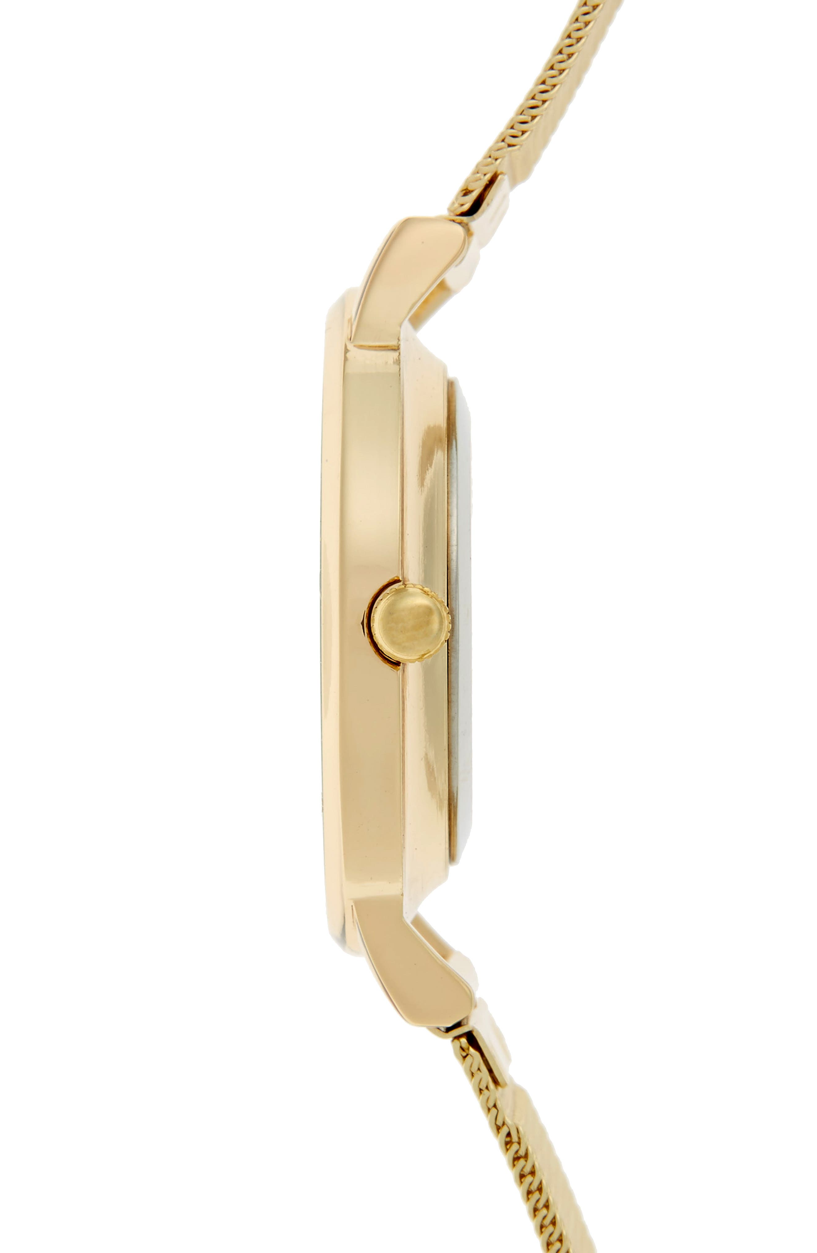 Mesh Strap Watch,                             Alternate thumbnail 3, color,                             Gold/ White Marble