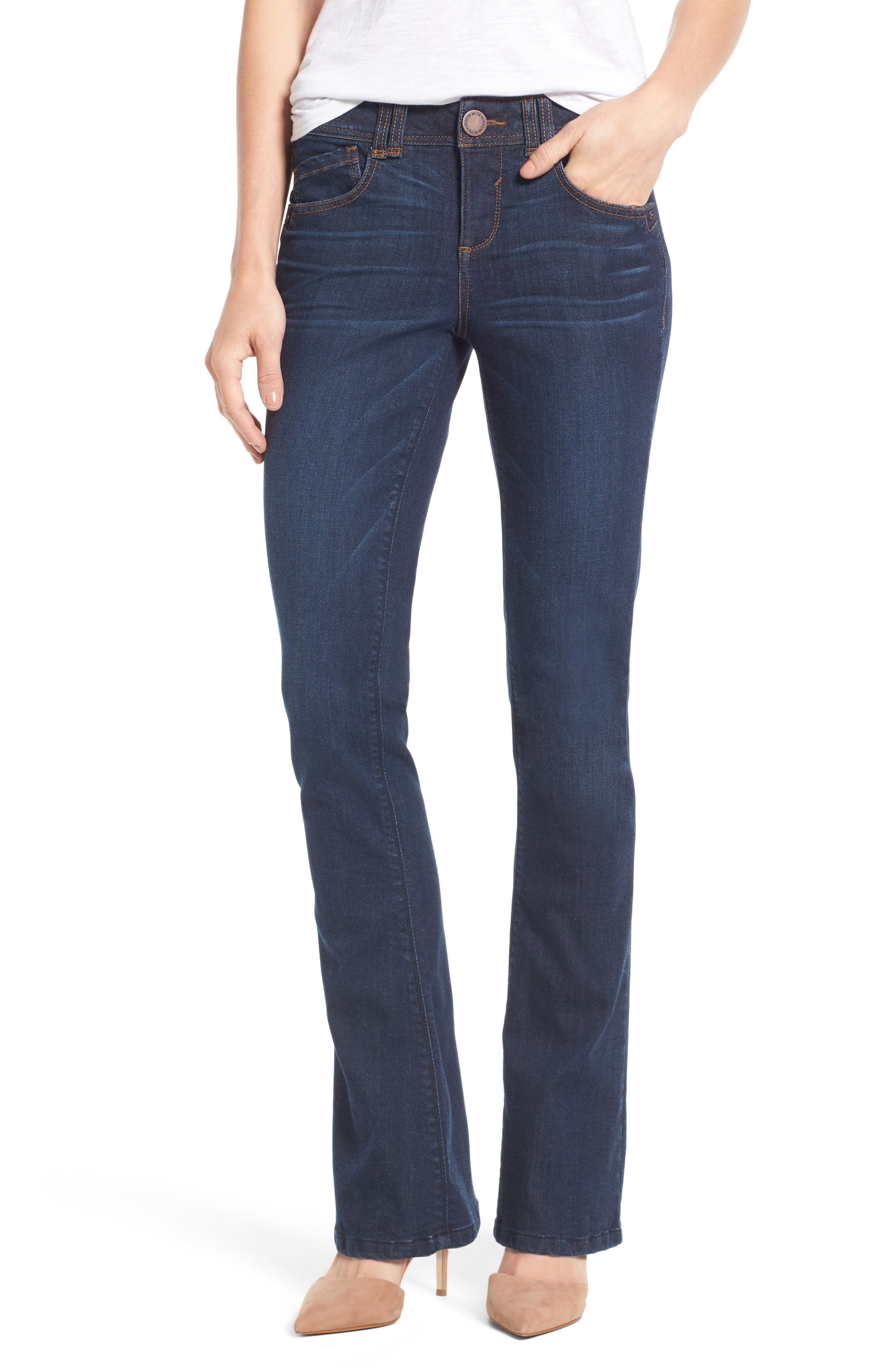 Womens Cropped Jeans - Mid Rise, Wide Leg - 14/16 - BLUE Lands End