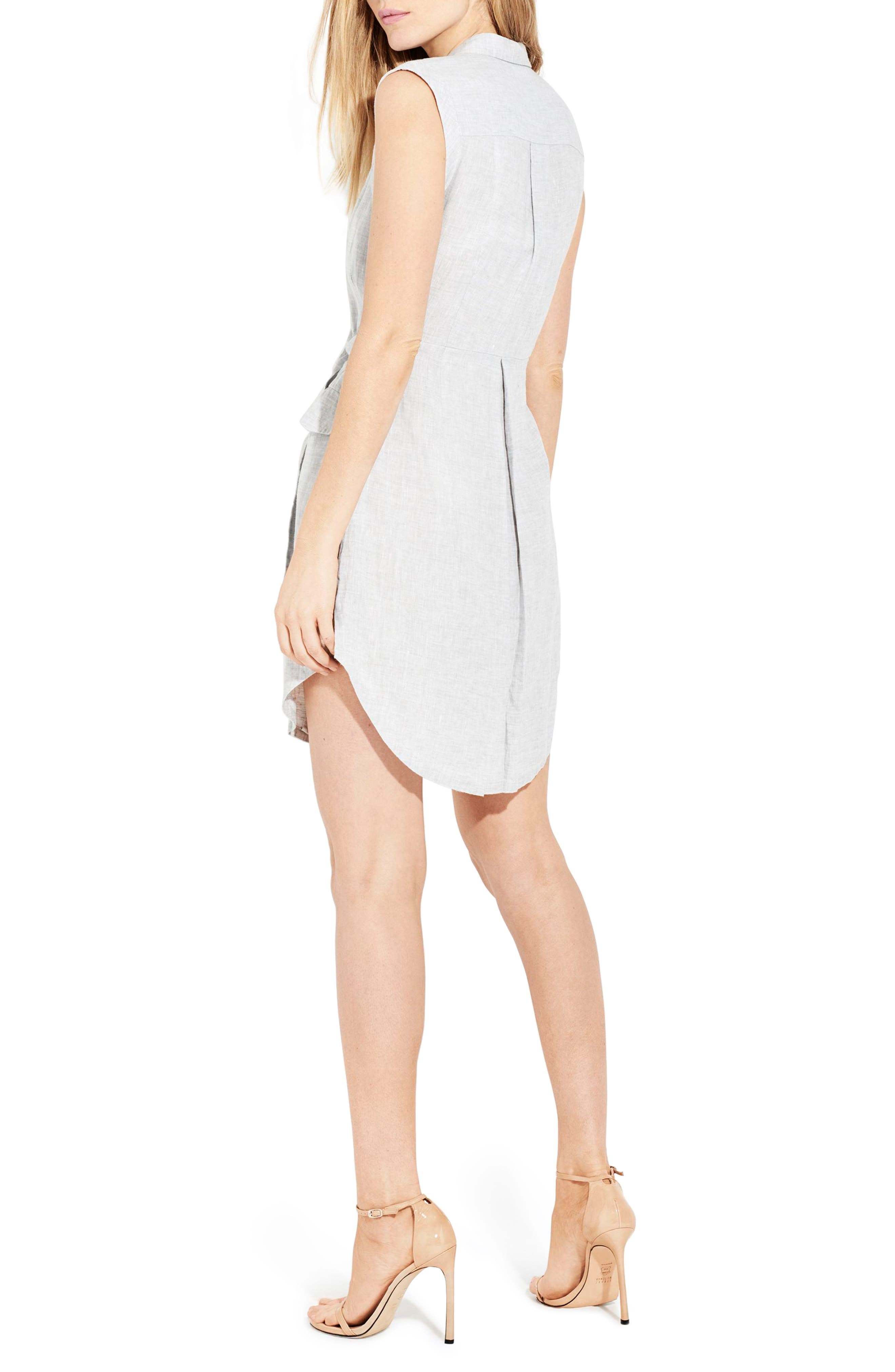 The Linen Utility Wrap Dress,                             Alternate thumbnail 2, color,                             Silver Fox