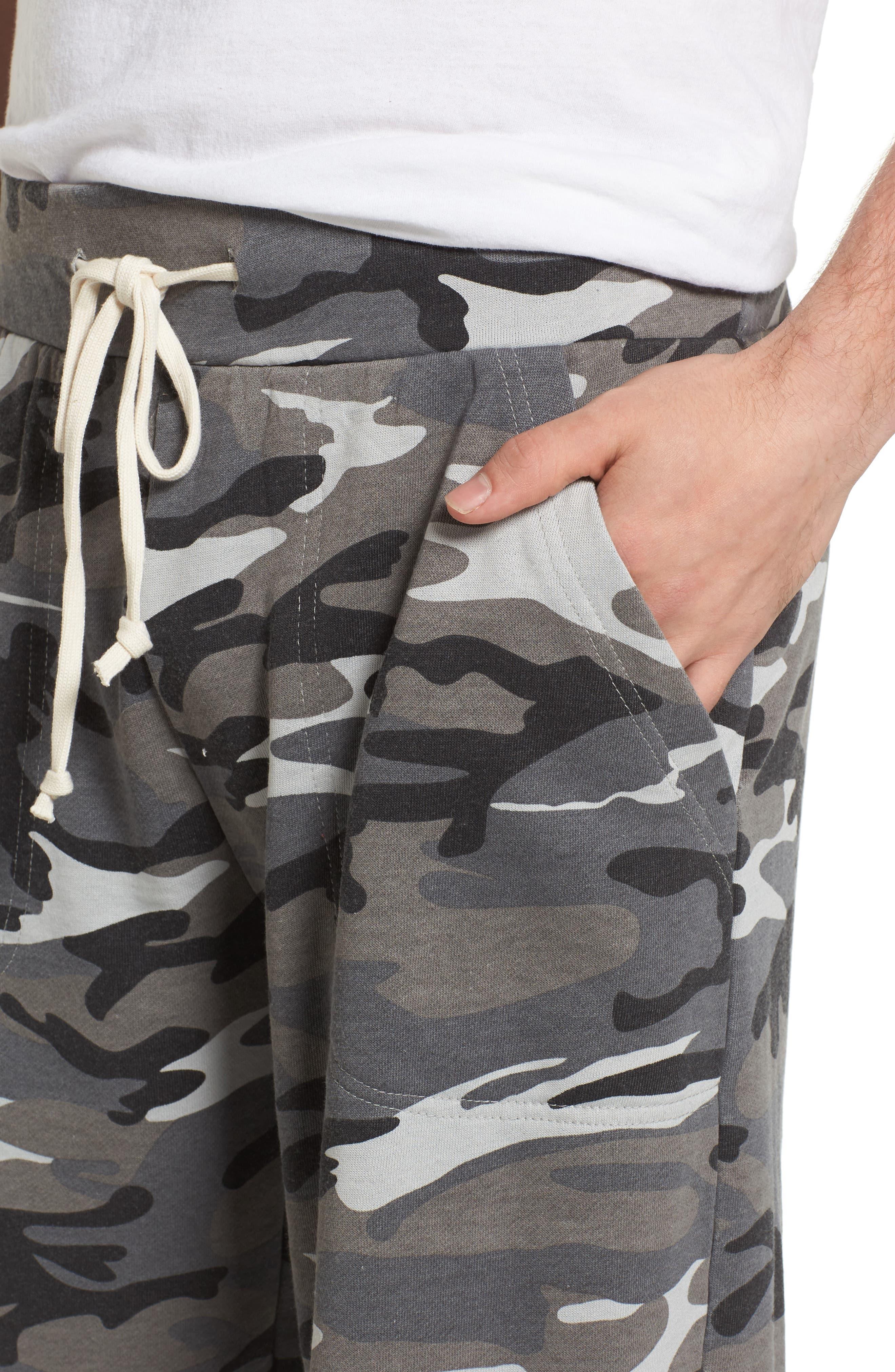 Alternate Image 4  - Alternative 'Victory' Camo French Terry Knit Cutoff Shorts