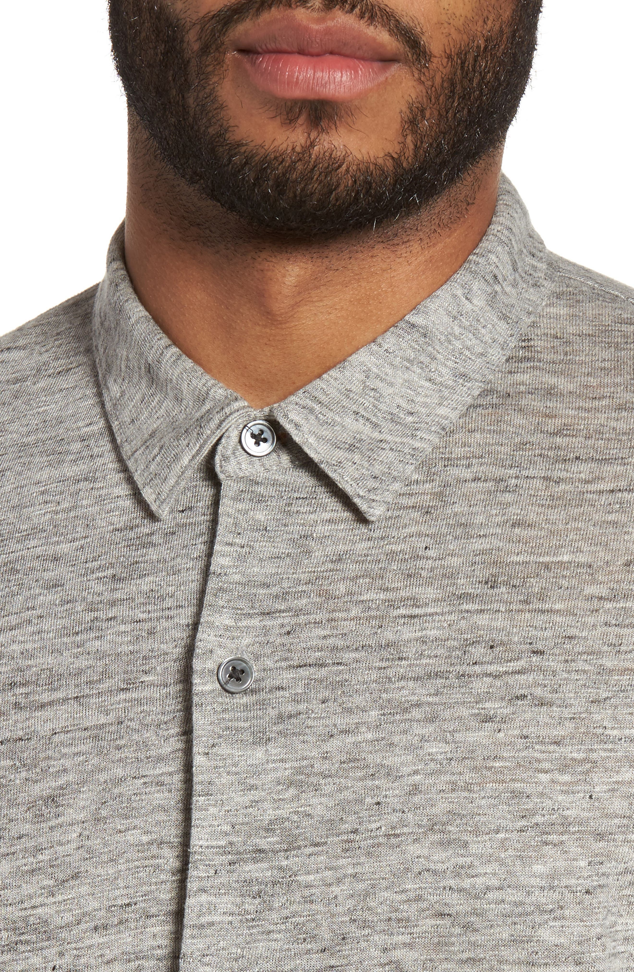 Linen Knit Sport Shirt,                             Alternate thumbnail 4, color,                             Grey Heather