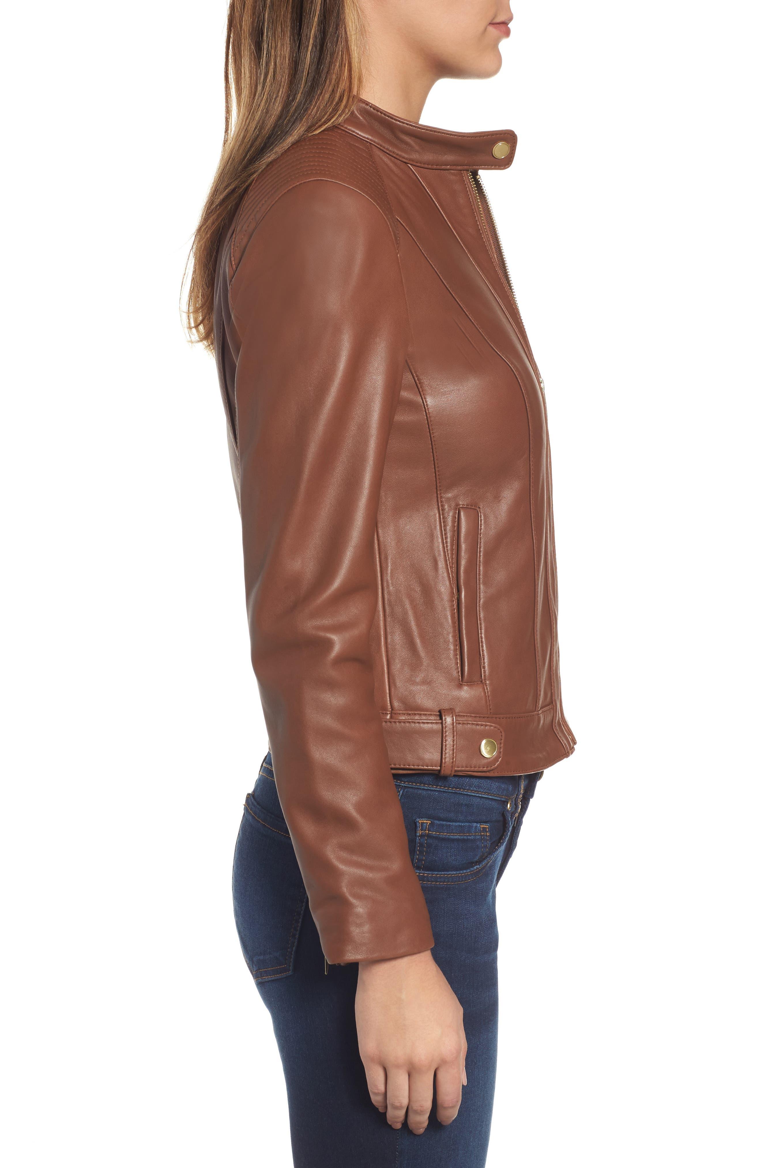 Leather Moto Jacket,                             Alternate thumbnail 3, color,                             Chestnut