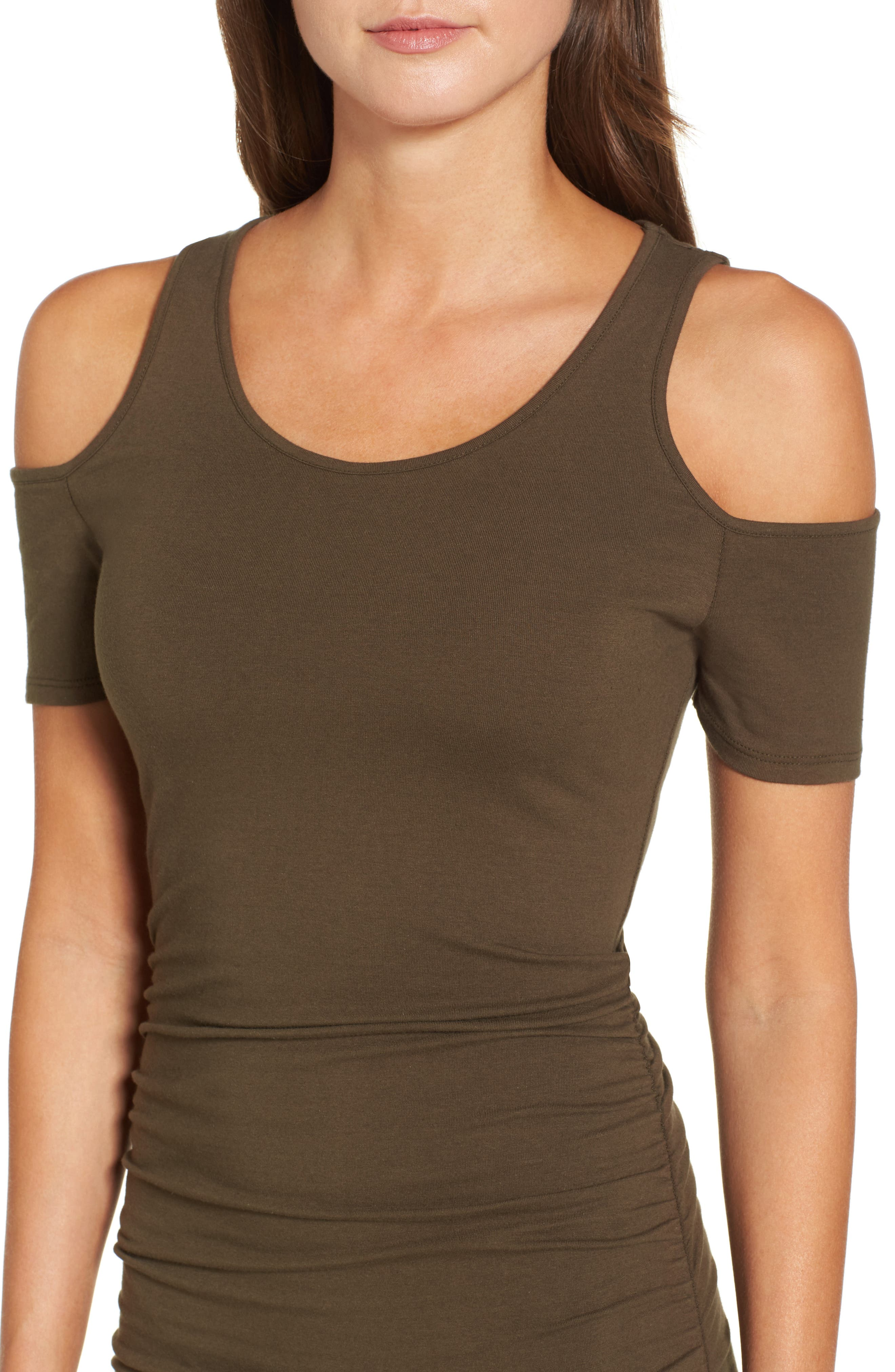 Alternate Image 4  - Michael Stars Cold Shoulder Body-Con Dress (Regular & Petite)