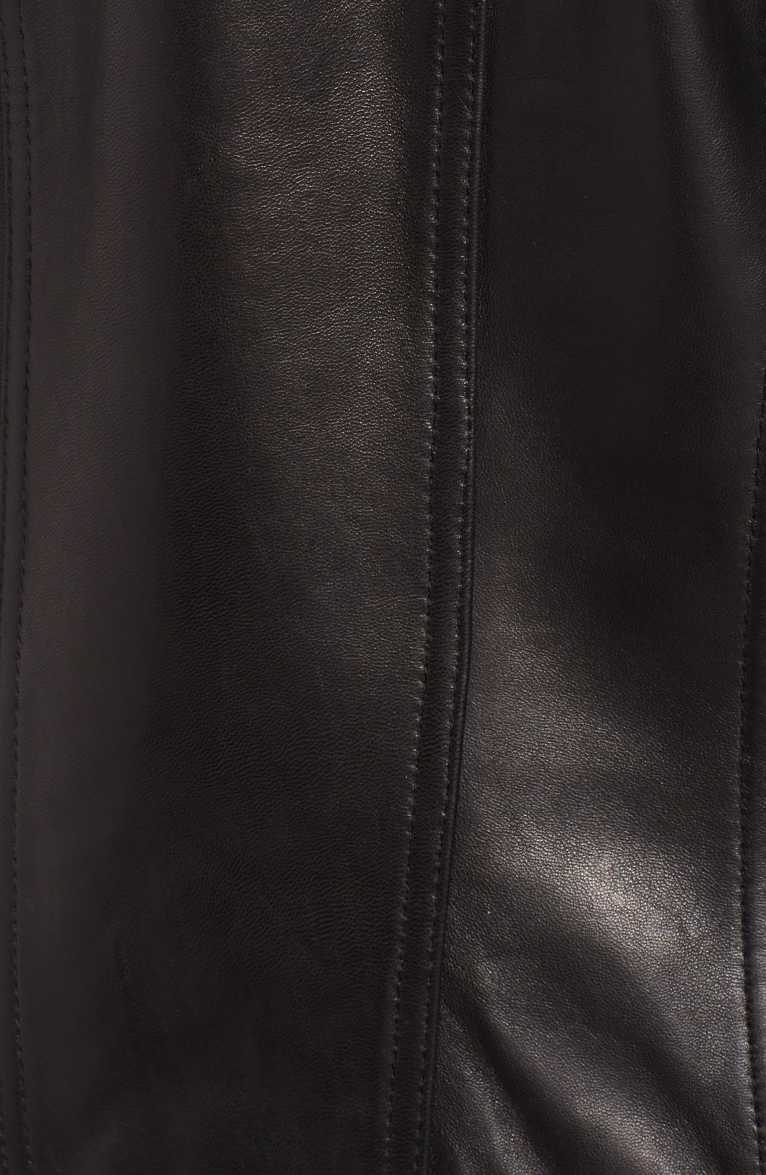 Braid Detail Leather Jacket,                             Alternate thumbnail 5, color,                             Black