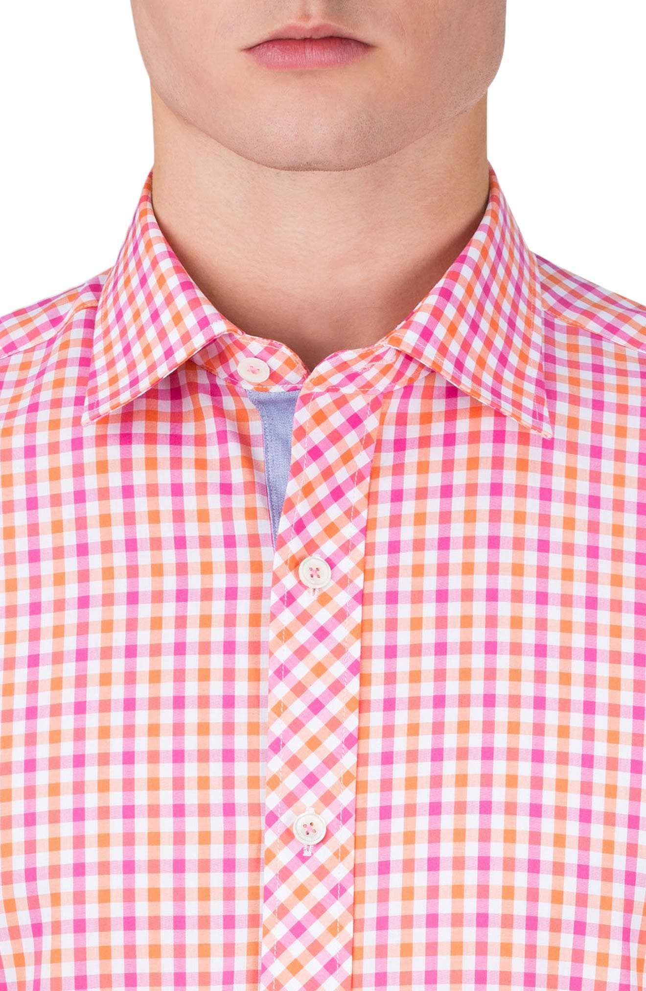 Classic Fit Check Sport Shirt,                             Alternate thumbnail 3, color,                             Coral