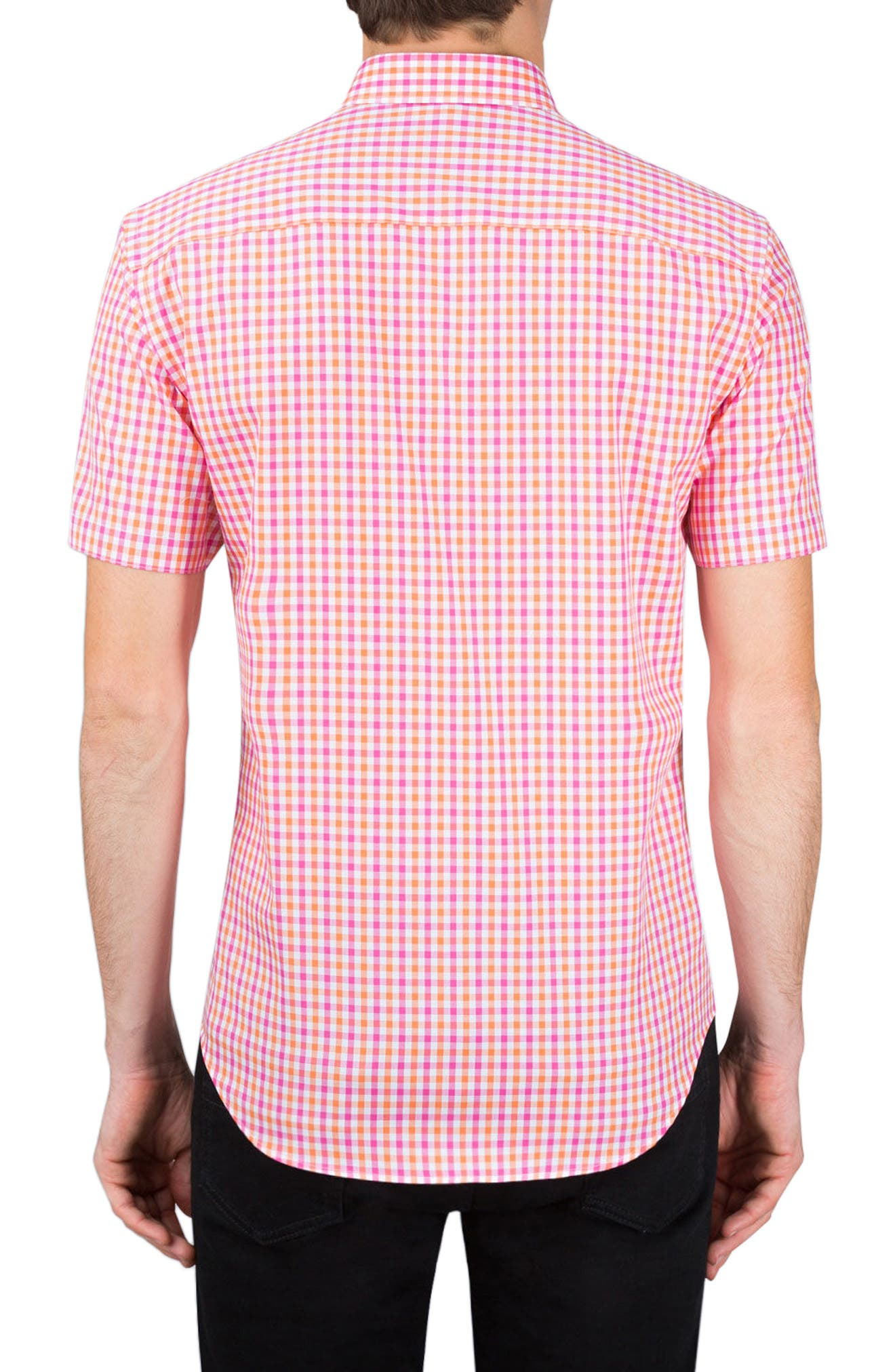 Classic Fit Check Sport Shirt,                             Alternate thumbnail 2, color,                             Coral