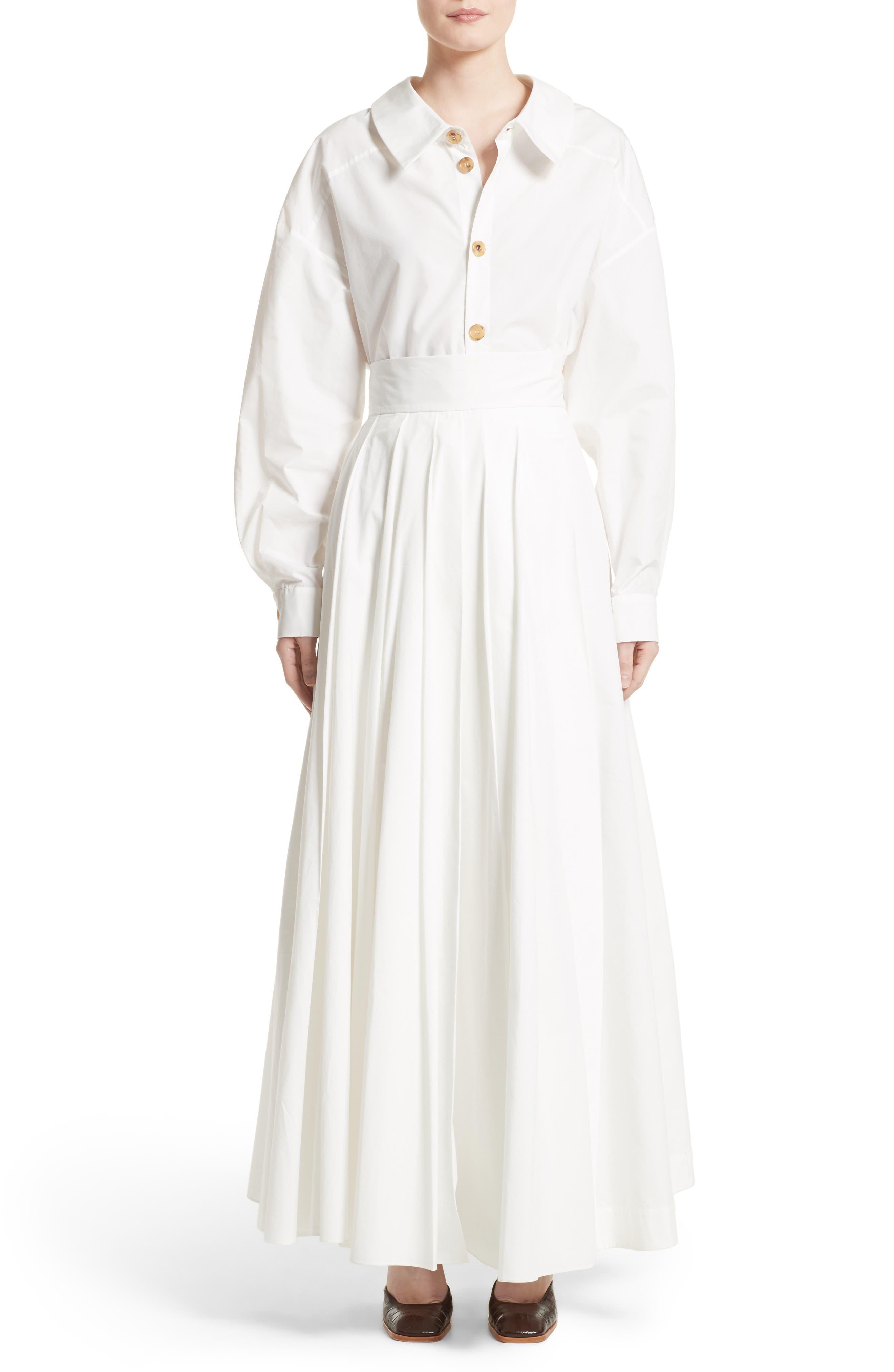 Pleated Maxi Skirt,                             Alternate thumbnail 7, color,                             White