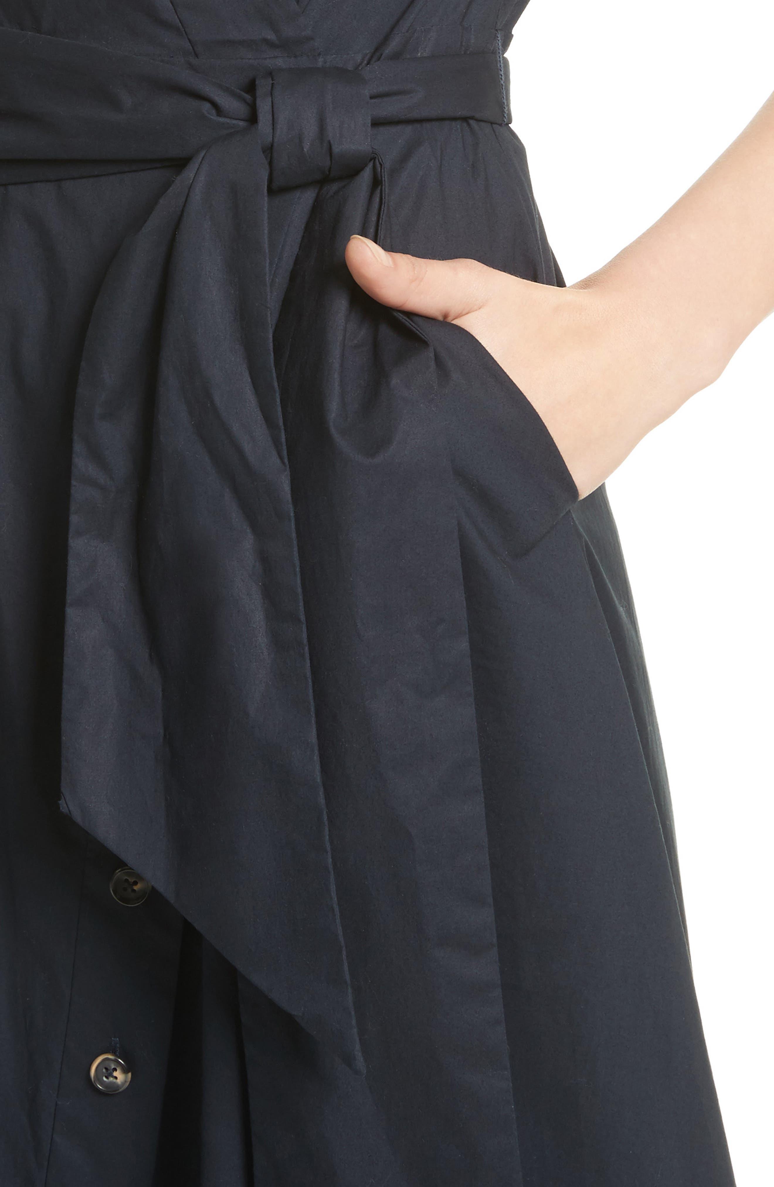 Mae B Wrap Shirtdress,                             Alternate thumbnail 4, color,                             Navy