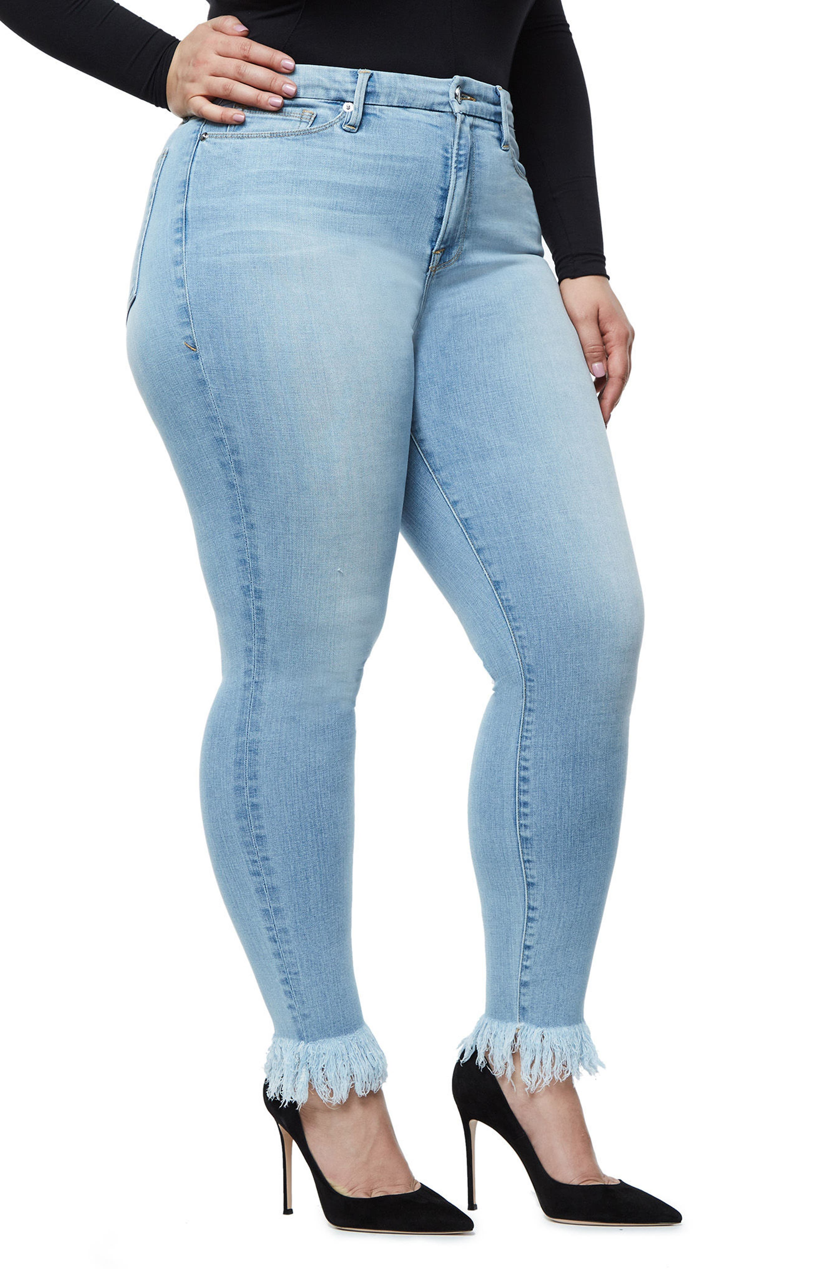 Alternate Image 8  - Good American Good Waist High Waist Frayed Ankle Skinny Jeans (Blue 054) (Extended Sizes)