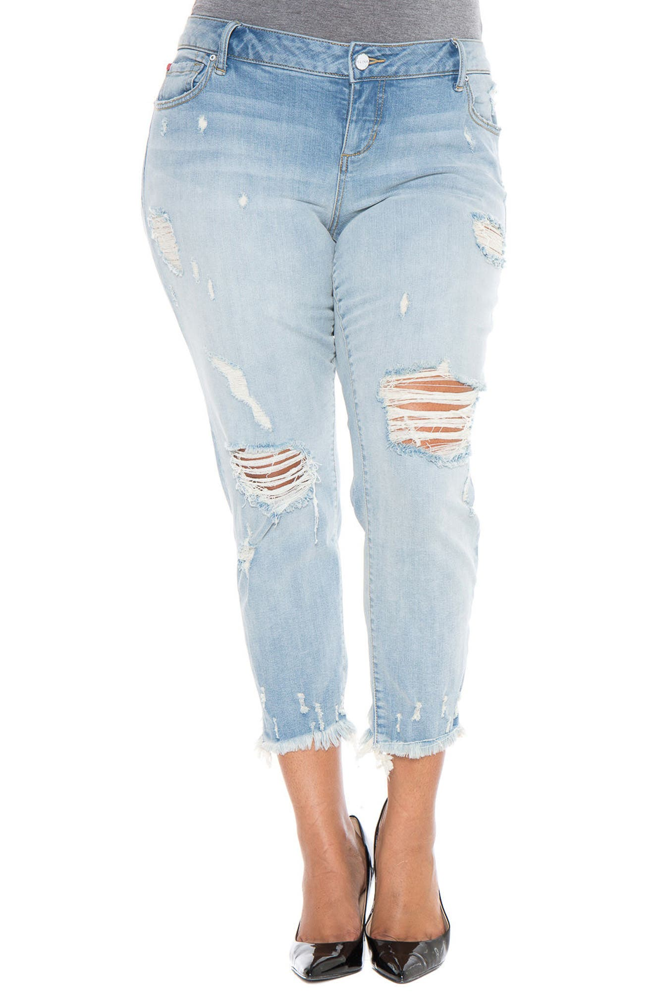 Main Image - SLINK Jeans Frayed Hem Ripped Boyfriend Jeans (Maggie) (Plus Size)