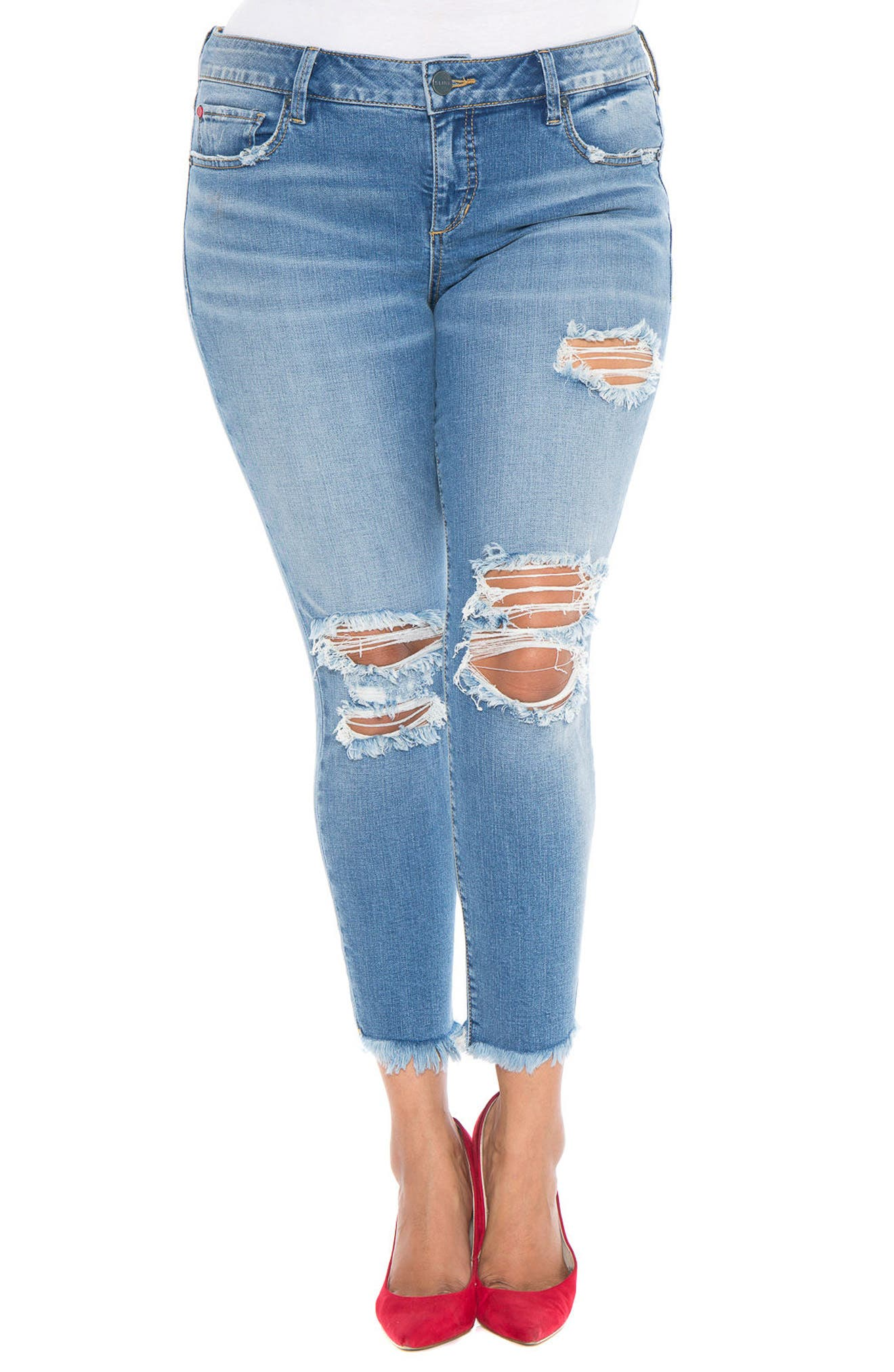 Destroyed Ankle Jeans,                         Main,                         color, Eden