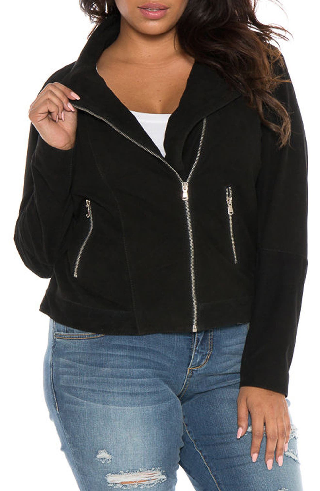 Alternate Image 1 Selected - SLINK Jeans Canyon Suede Jacket (Plus Size)