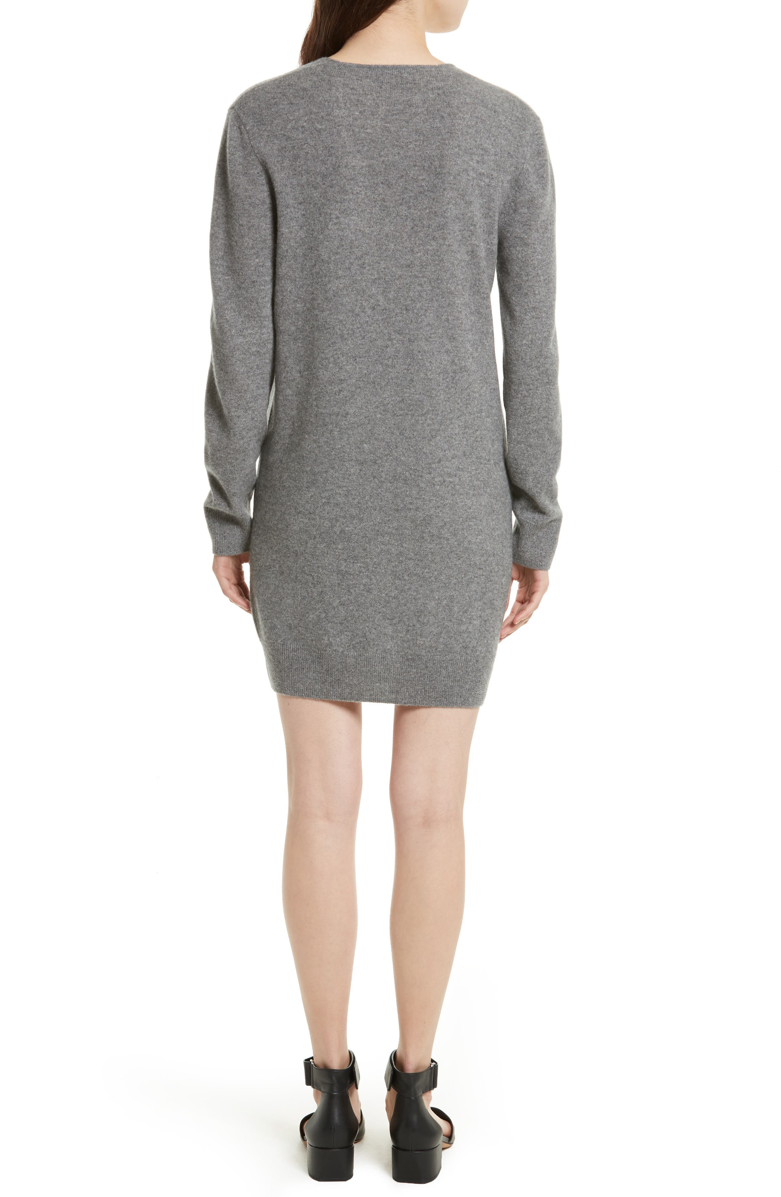 Rosemary V-Neck Cashmere Sweater Dress,                             Alternate thumbnail 2, color,                             Heather Grey