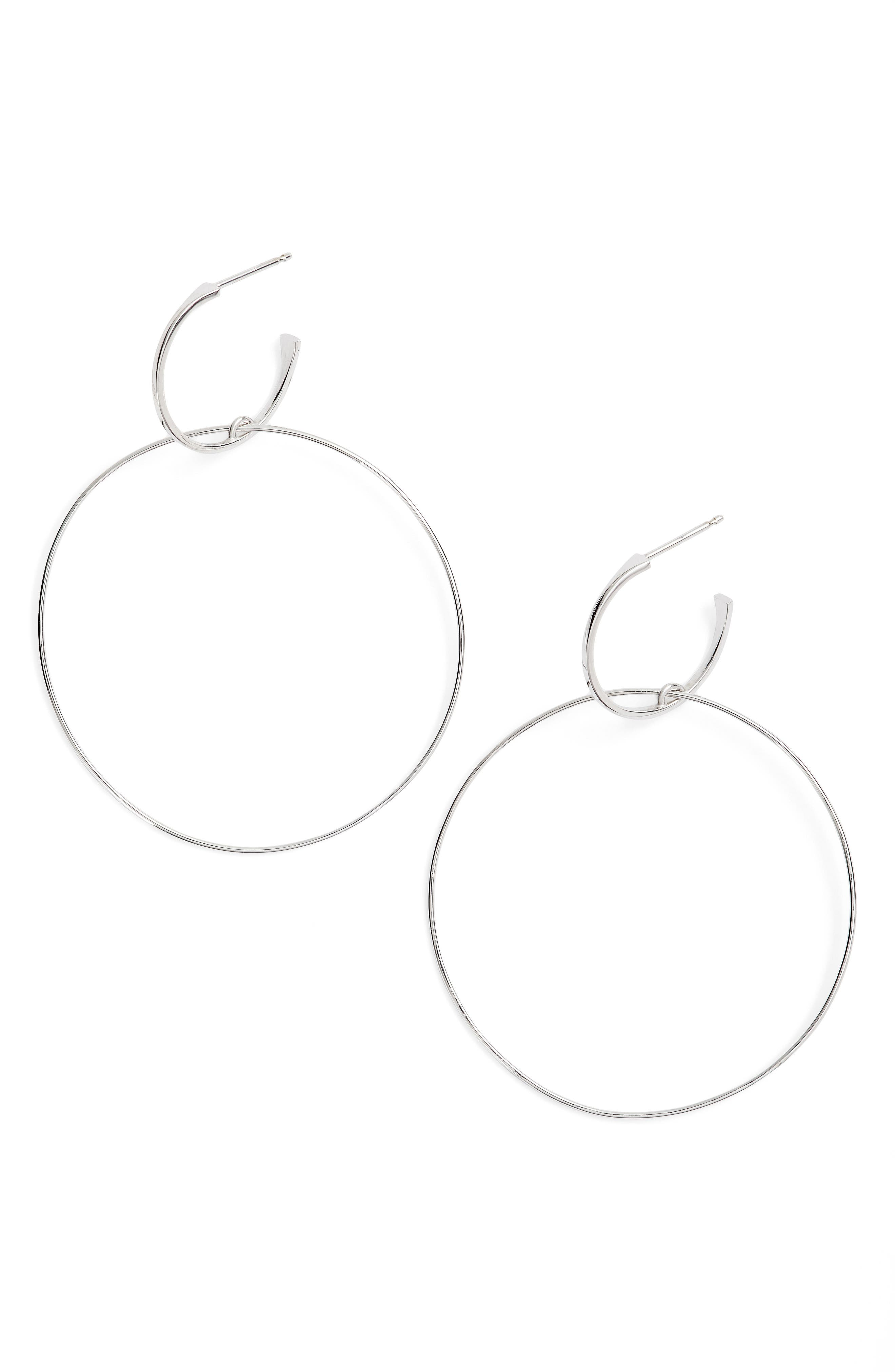 Bond Small Double Hoop Earrings,                         Main,                         color, White Gold
