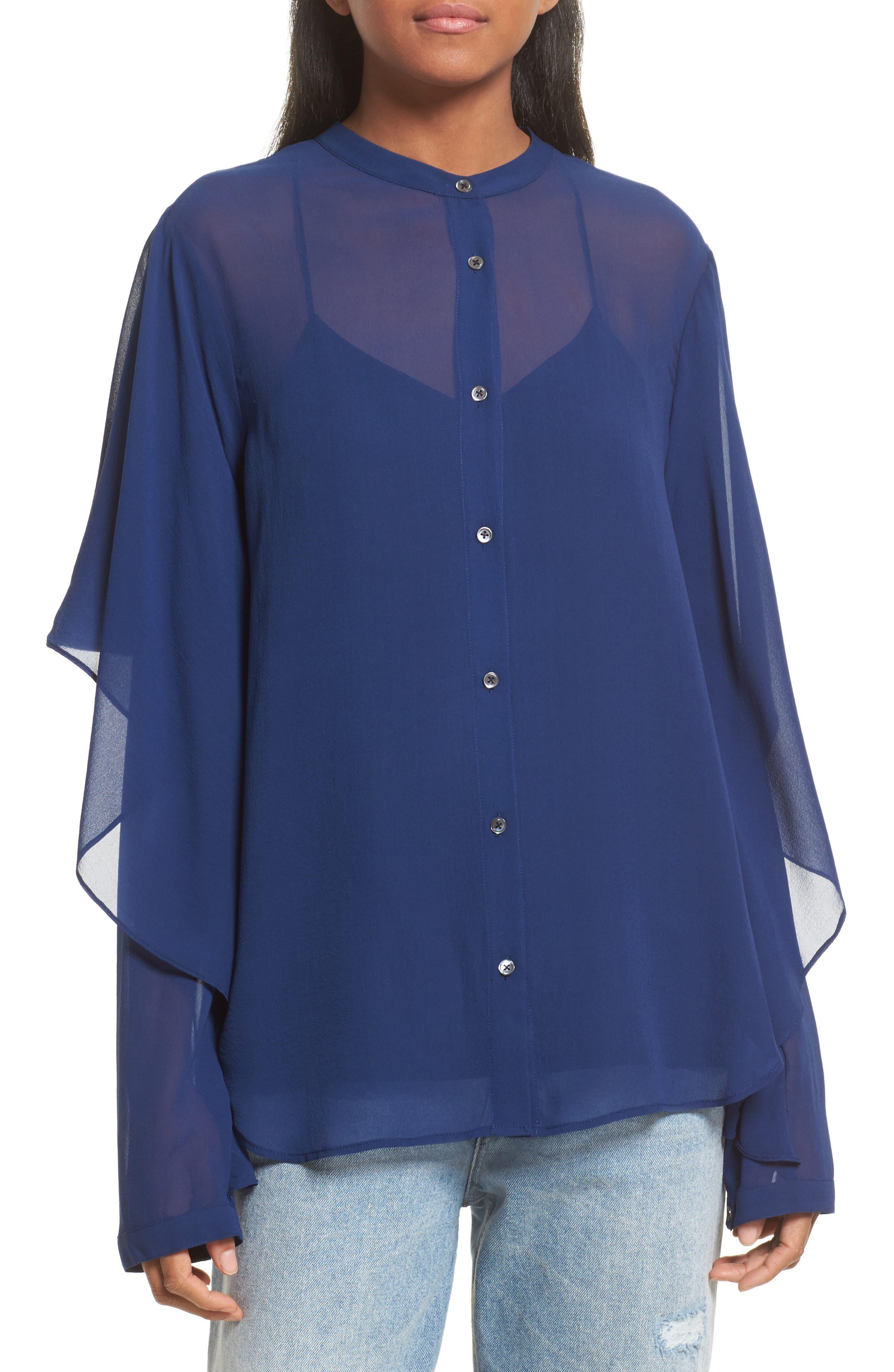 Drape Detail Silk Shirt,                         Main,                         color, Midnight