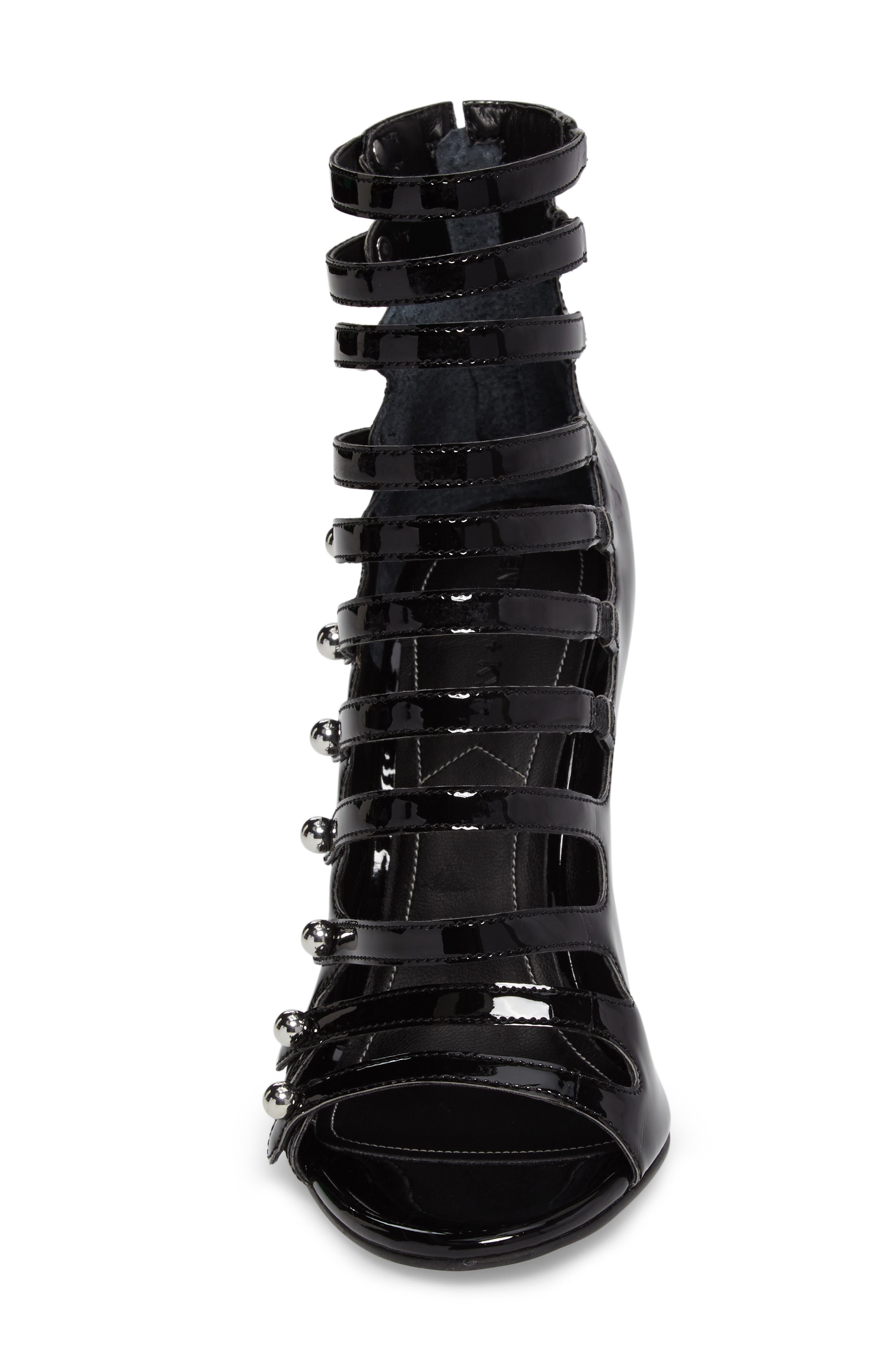 Giaa Strappy Sandal,                             Alternate thumbnail 4, color,                             Black Patent Leather