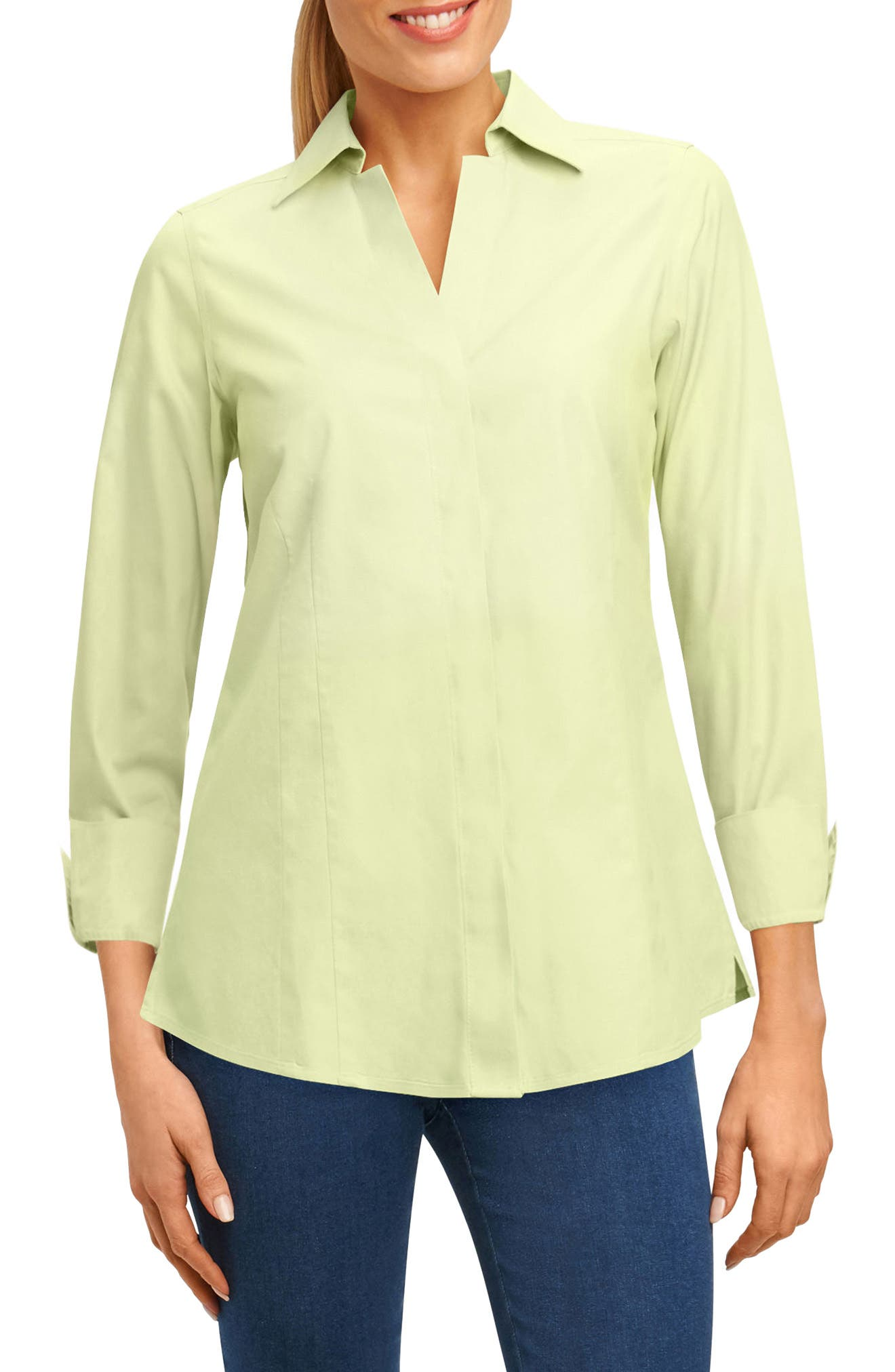 Alternate Image 1 Selected - Foxcroft Fitted Non-Iron Shirt (Regular & Petite)