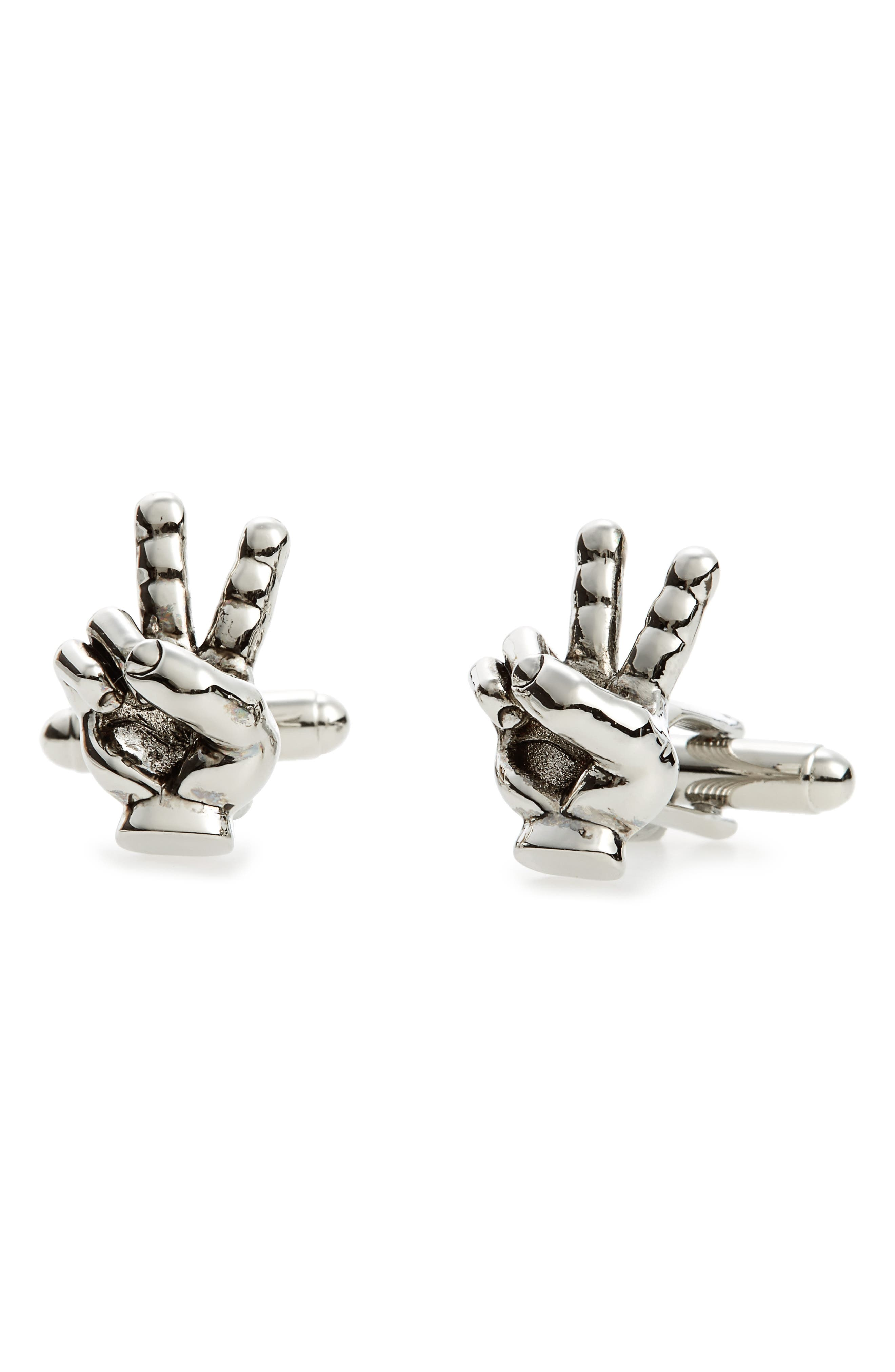 Peace Sign Cuff Links,                         Main,                         color, Silver