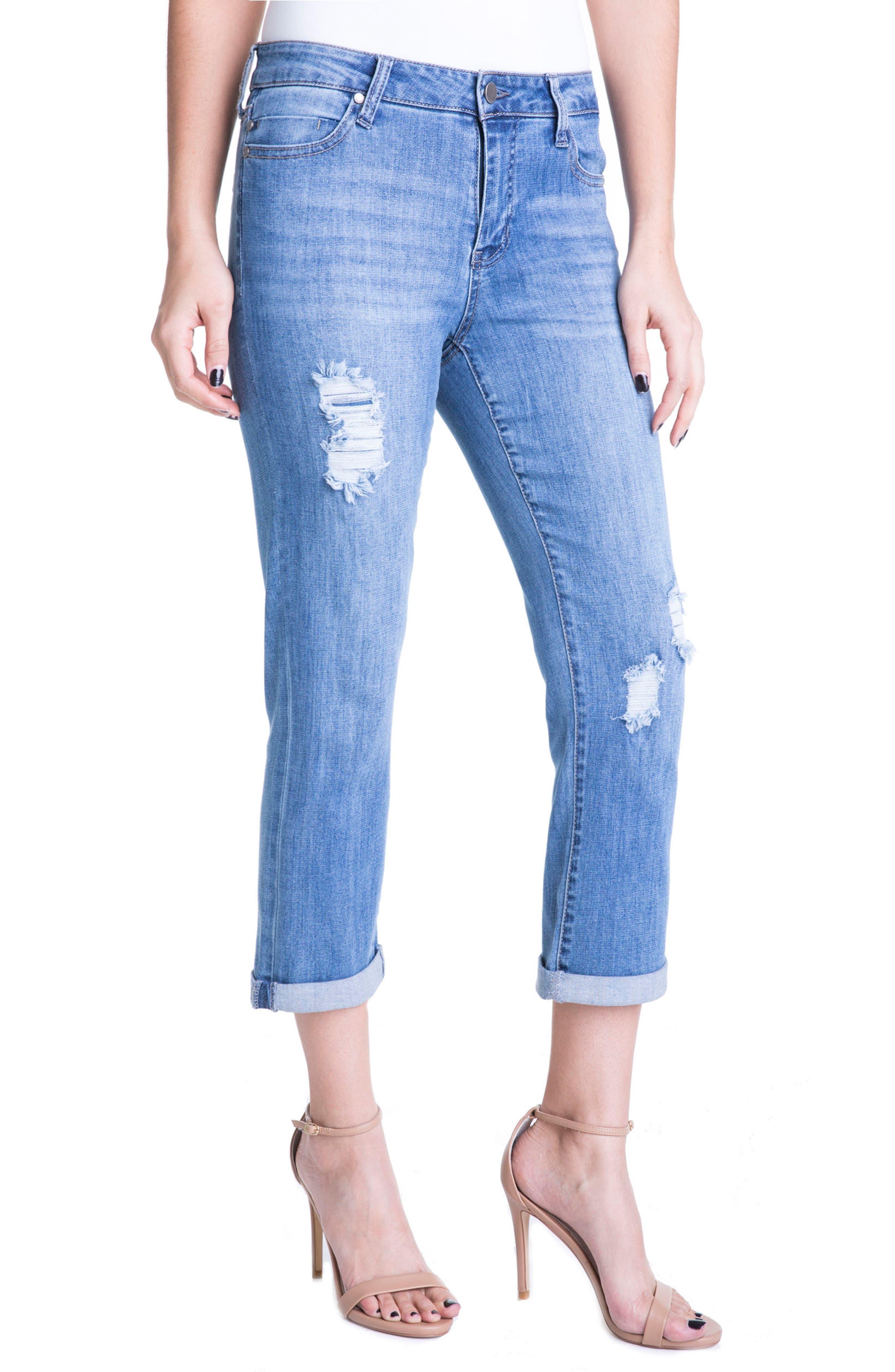 Michelle Distressed Cuff Capri Jeans,                             Alternate thumbnail 3, color,                             Melbourne Light/ Destruction