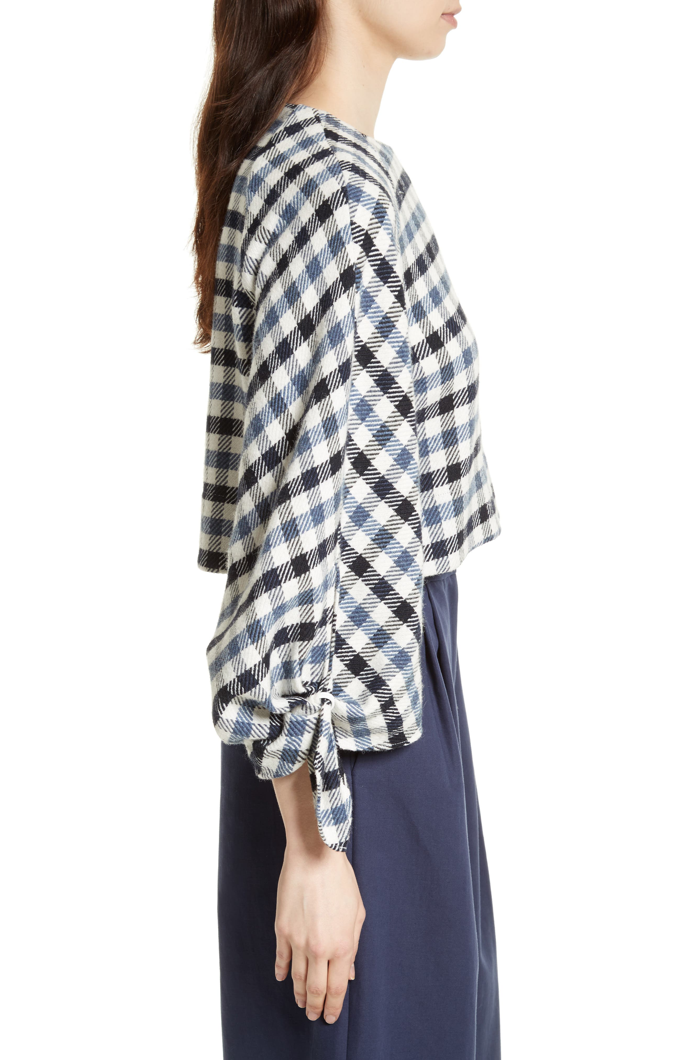 Fairfax Gingham Tie Sleeve Crop Top,                             Alternate thumbnail 3, color,                             Blue Multi