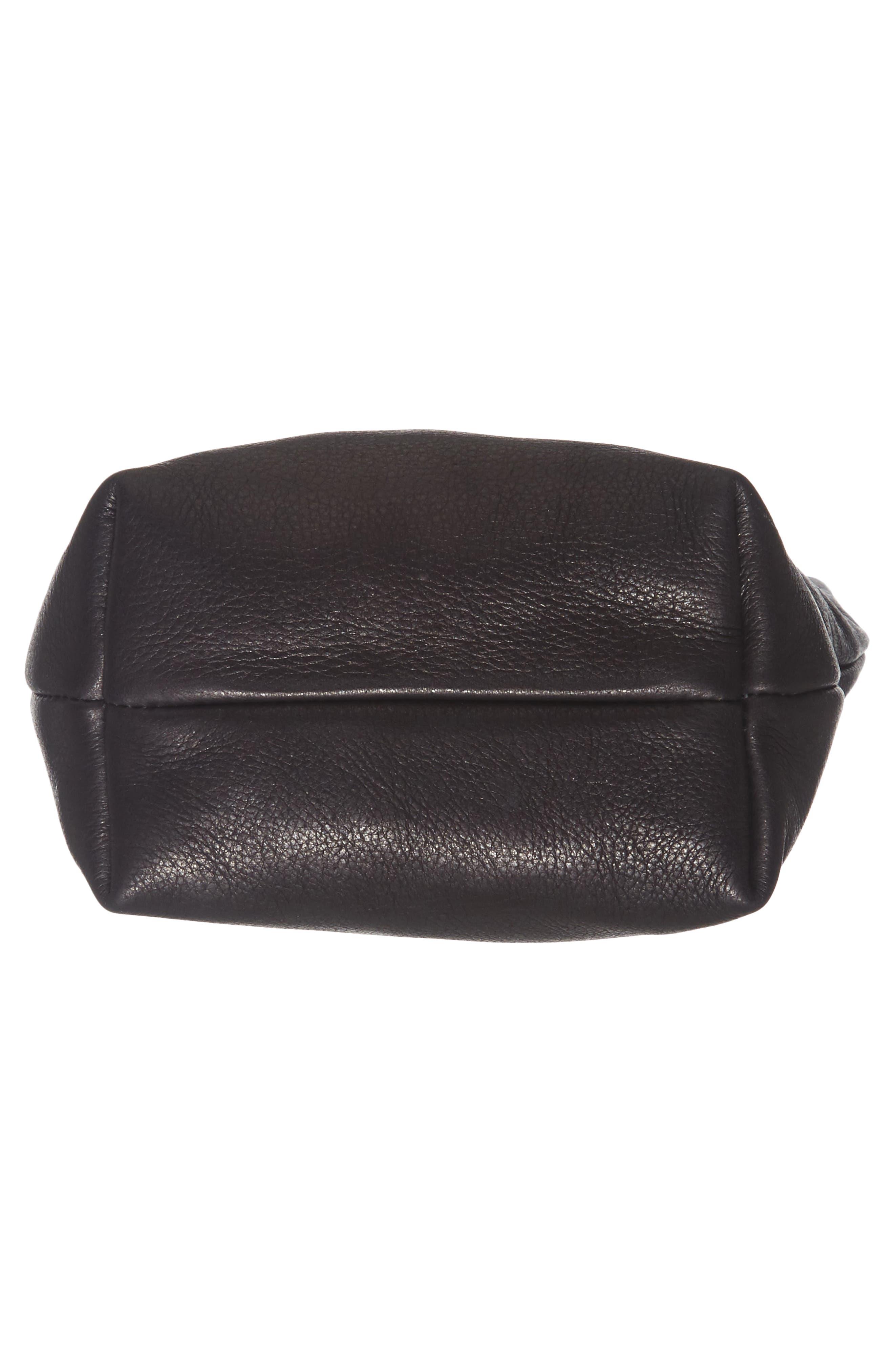 Leather Crossbody Bag,                             Alternate thumbnail 5, color,                             Black