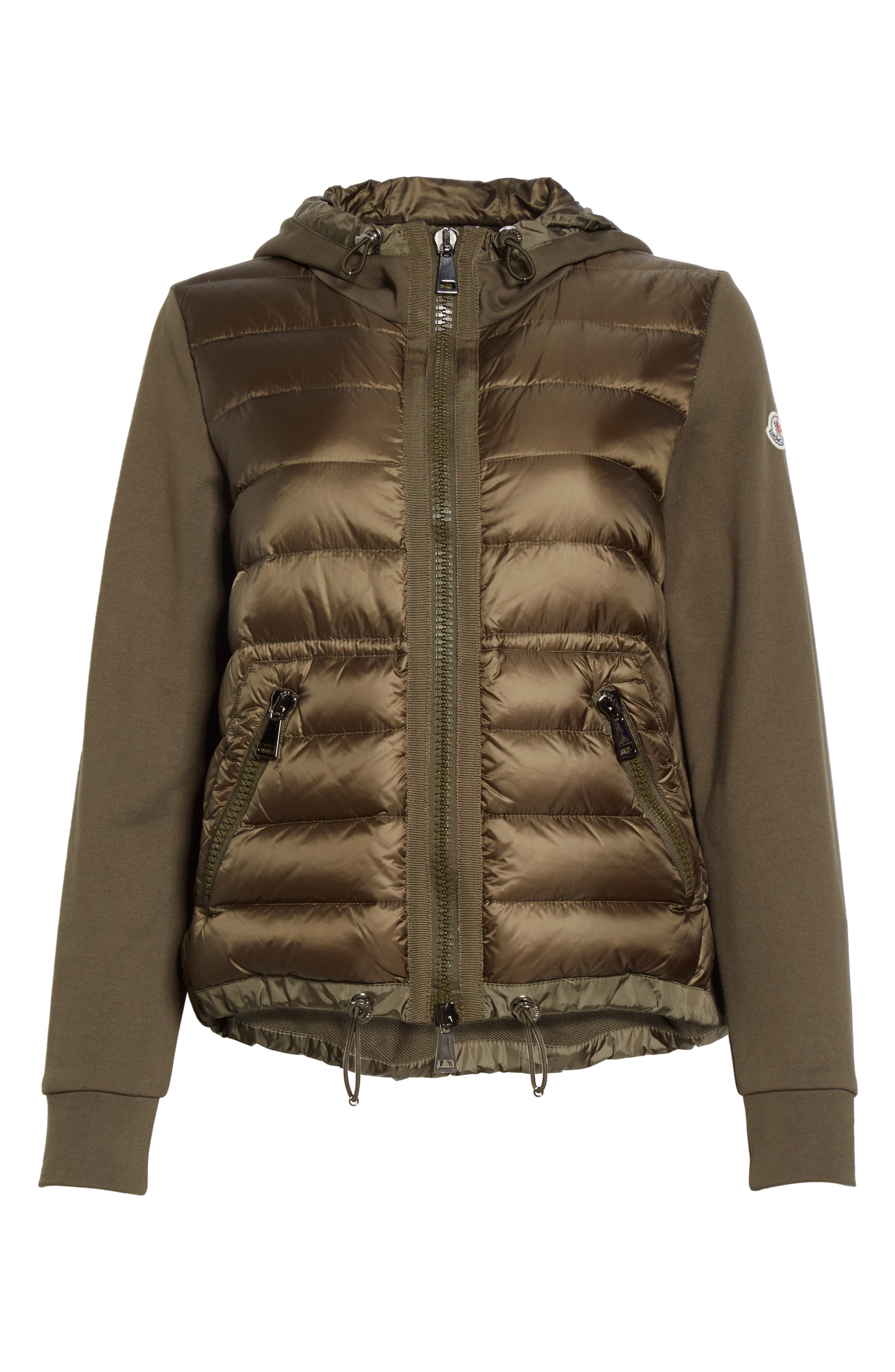 Quilted Front Hooded Jacket,                             Alternate thumbnail 6, color,                             Olive