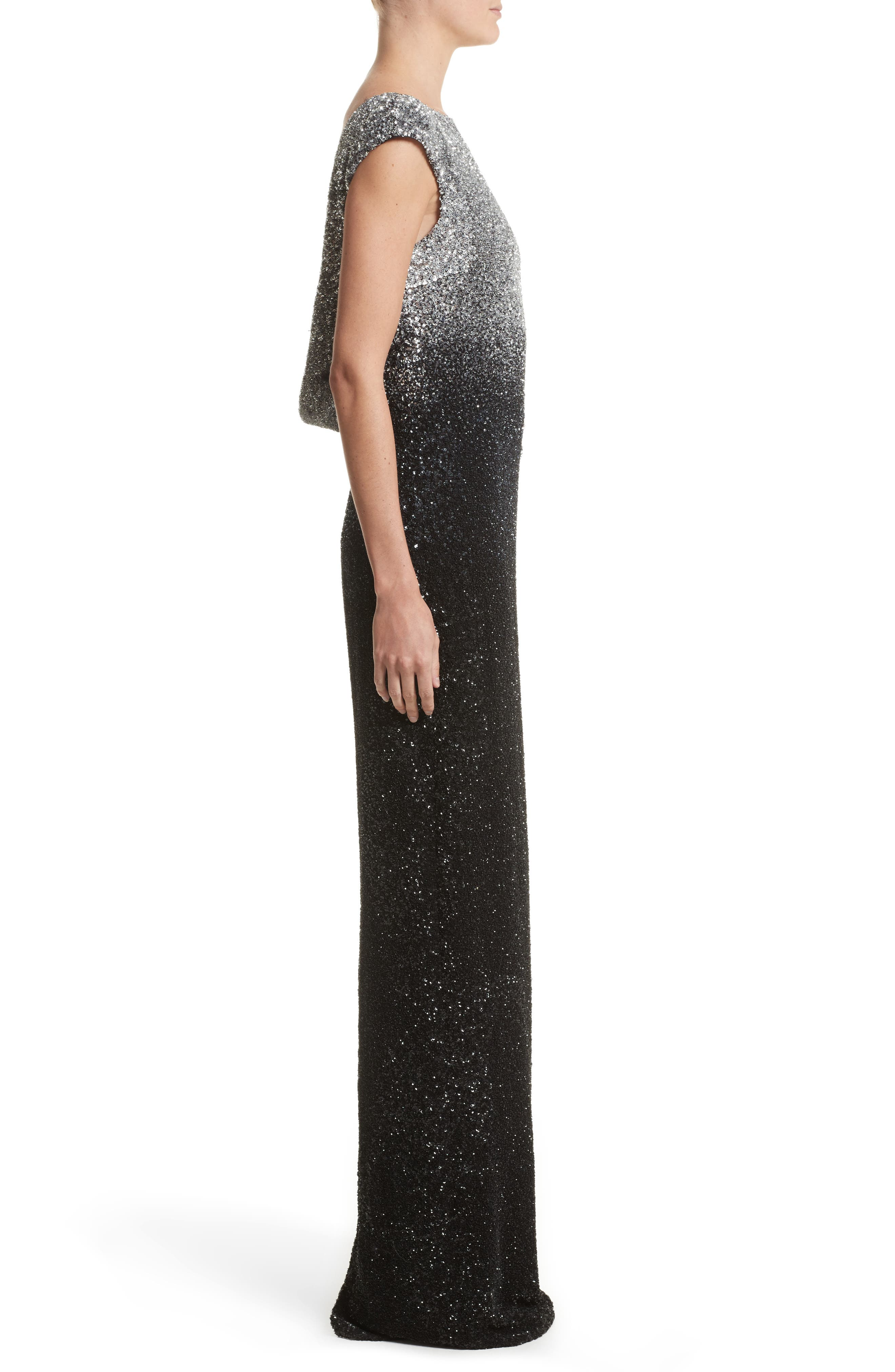 Drape Back Ombré Sequin Gown,                             Alternate thumbnail 3, color,                             Gunmetal/Navy/Black