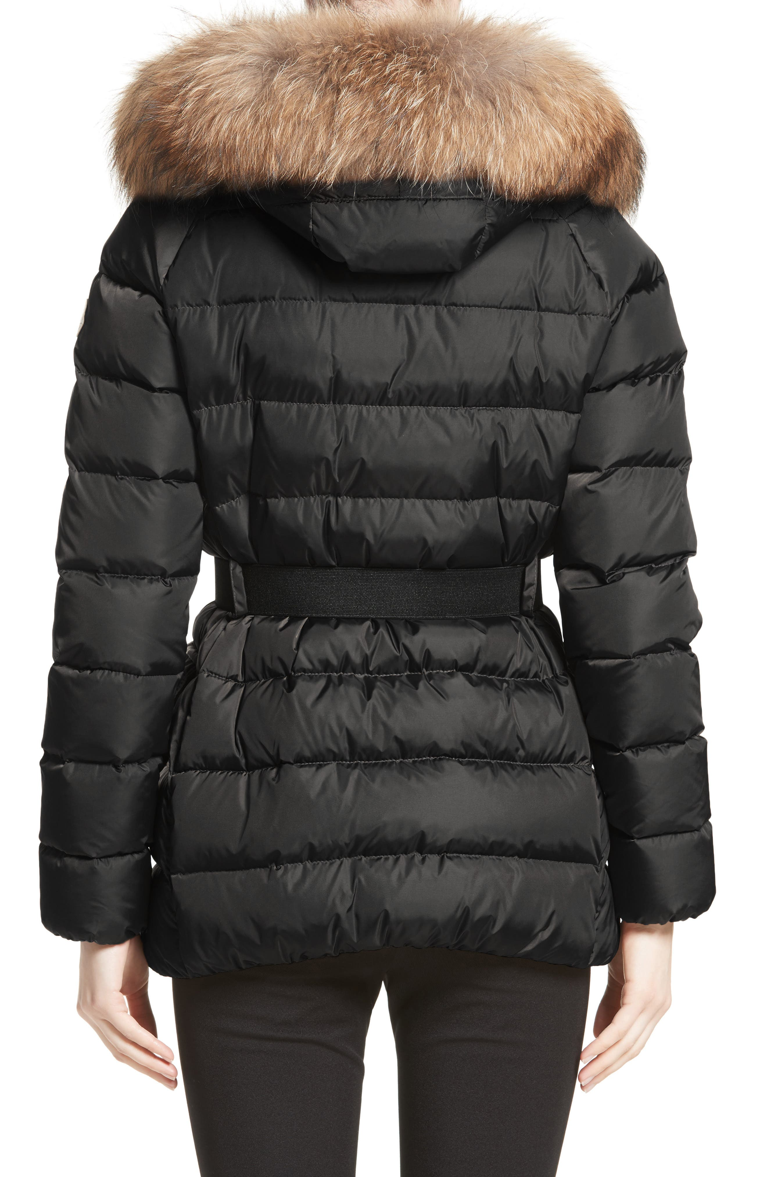 Clio Belted Down Puffer Coat with Removable Genuine Fox Fur Trim,                             Alternate thumbnail 2, color,                             Black