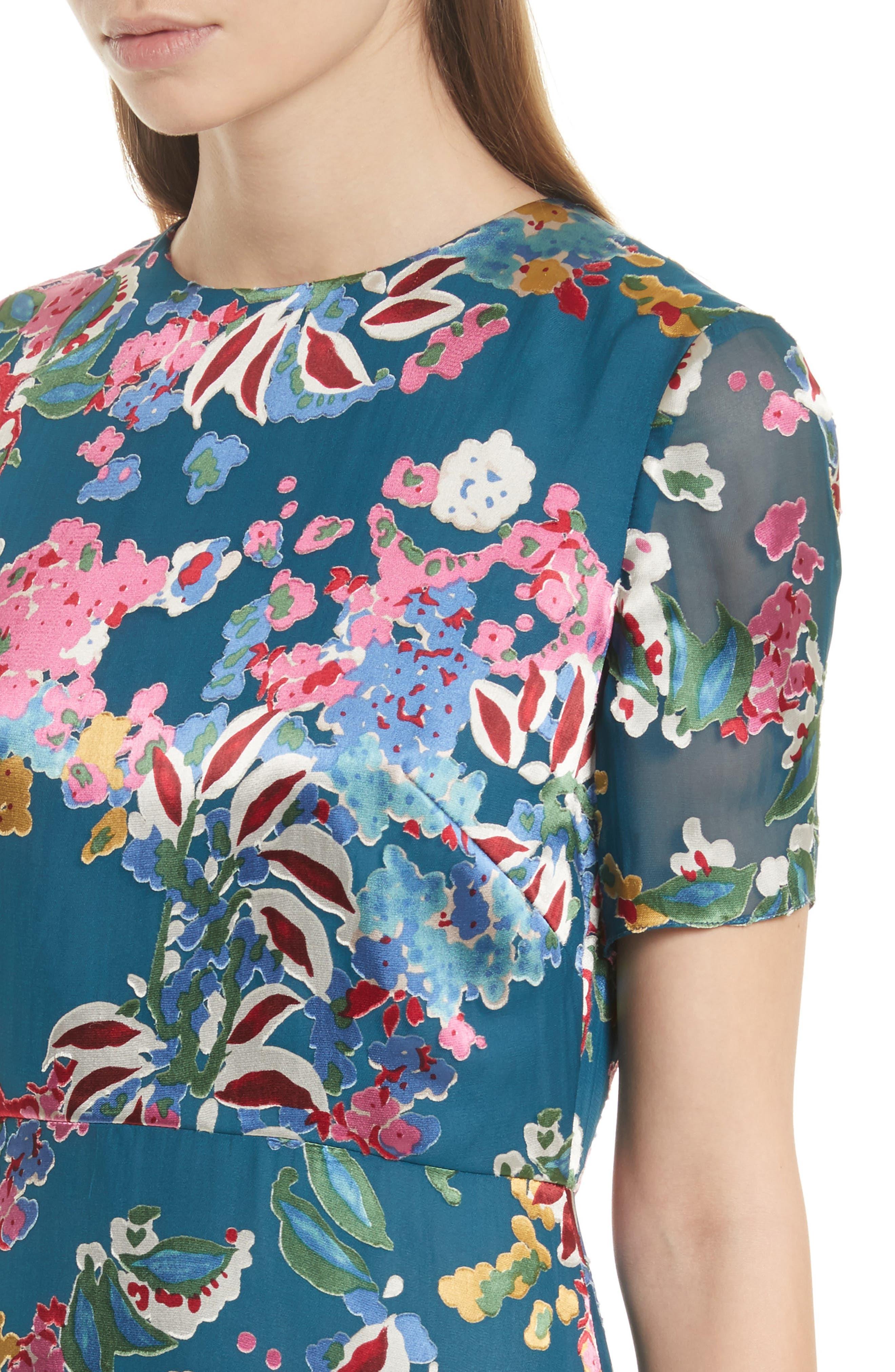 Alternate Image 4  - SALONI Lorna Print Ruffle Hem Midi Dress