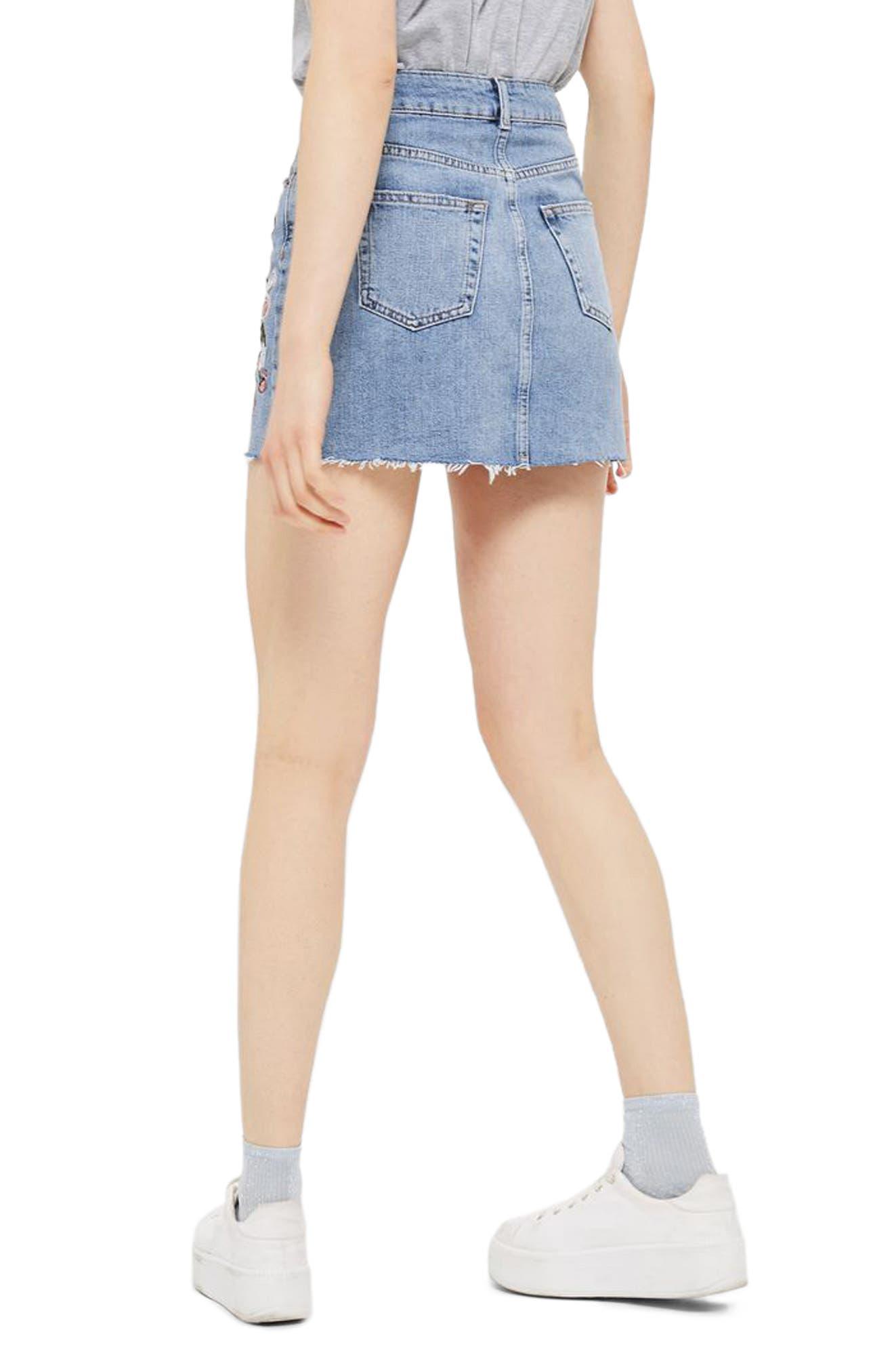 Embriodered Denim Miniskirt,                             Alternate thumbnail 3, color,                             Mid Denim