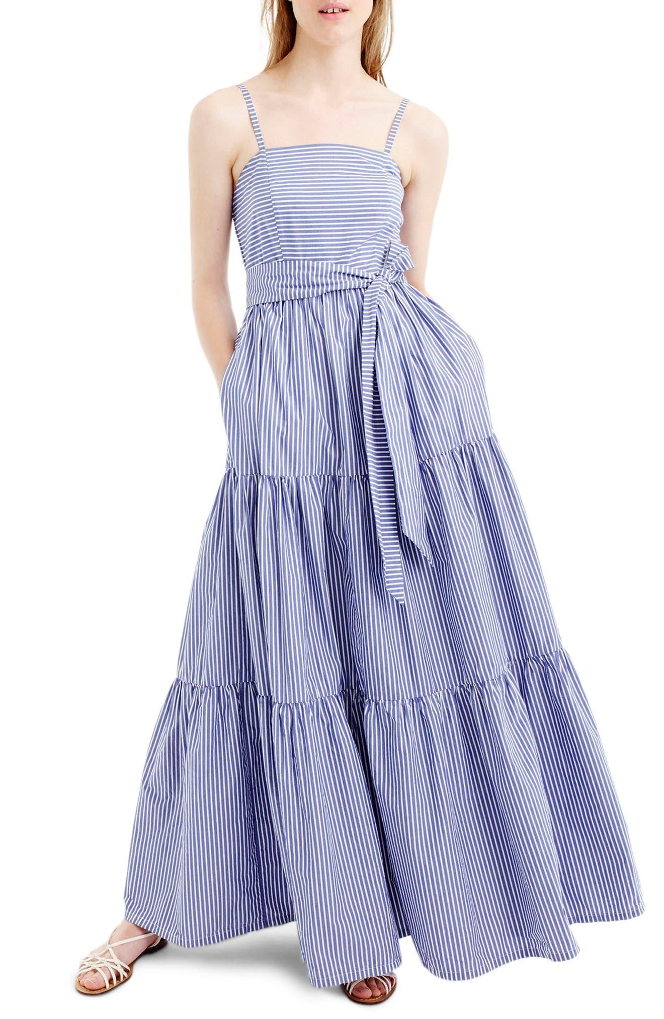 Main Image - J.Crew Stripe Tiered Maxi Dress (Regular & Petite)
