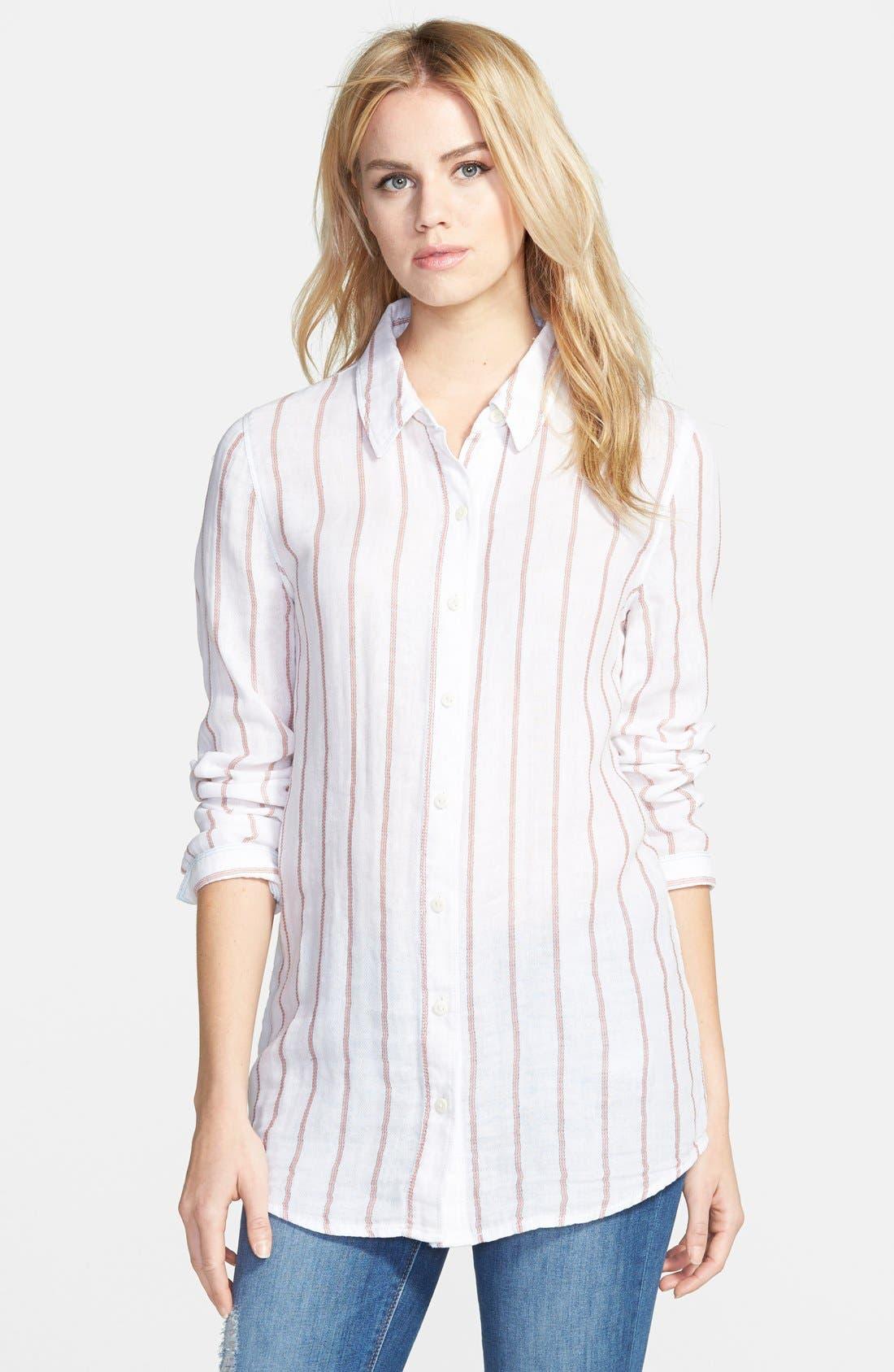 Treasure&Bond Long & Lean Boyfriend Shirt,                         Main,                         color, Coral Spice Ticking Stripe