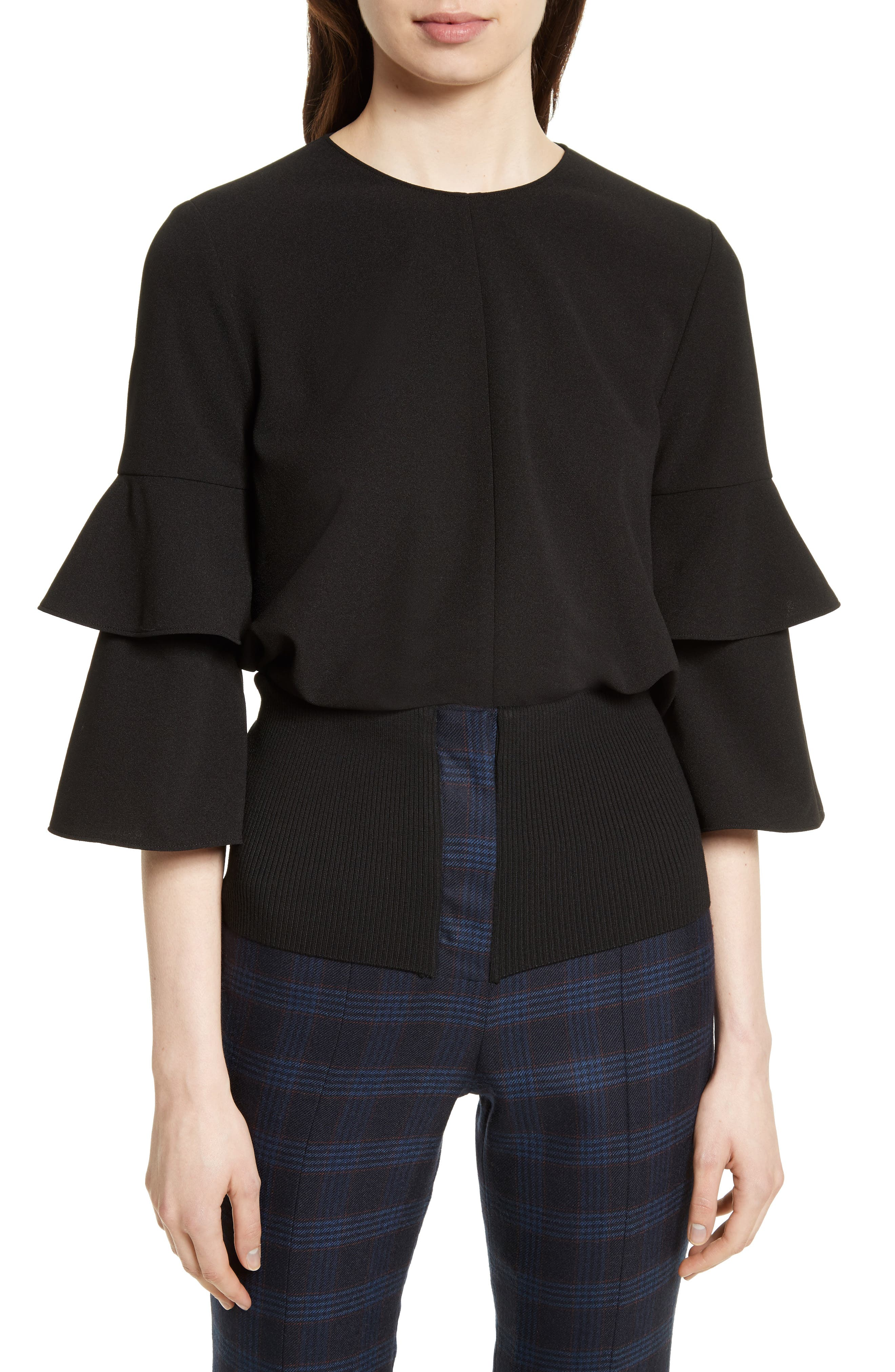 Bell Sleeve Stretch Crepe Top,                             Main thumbnail 1, color,                             Black