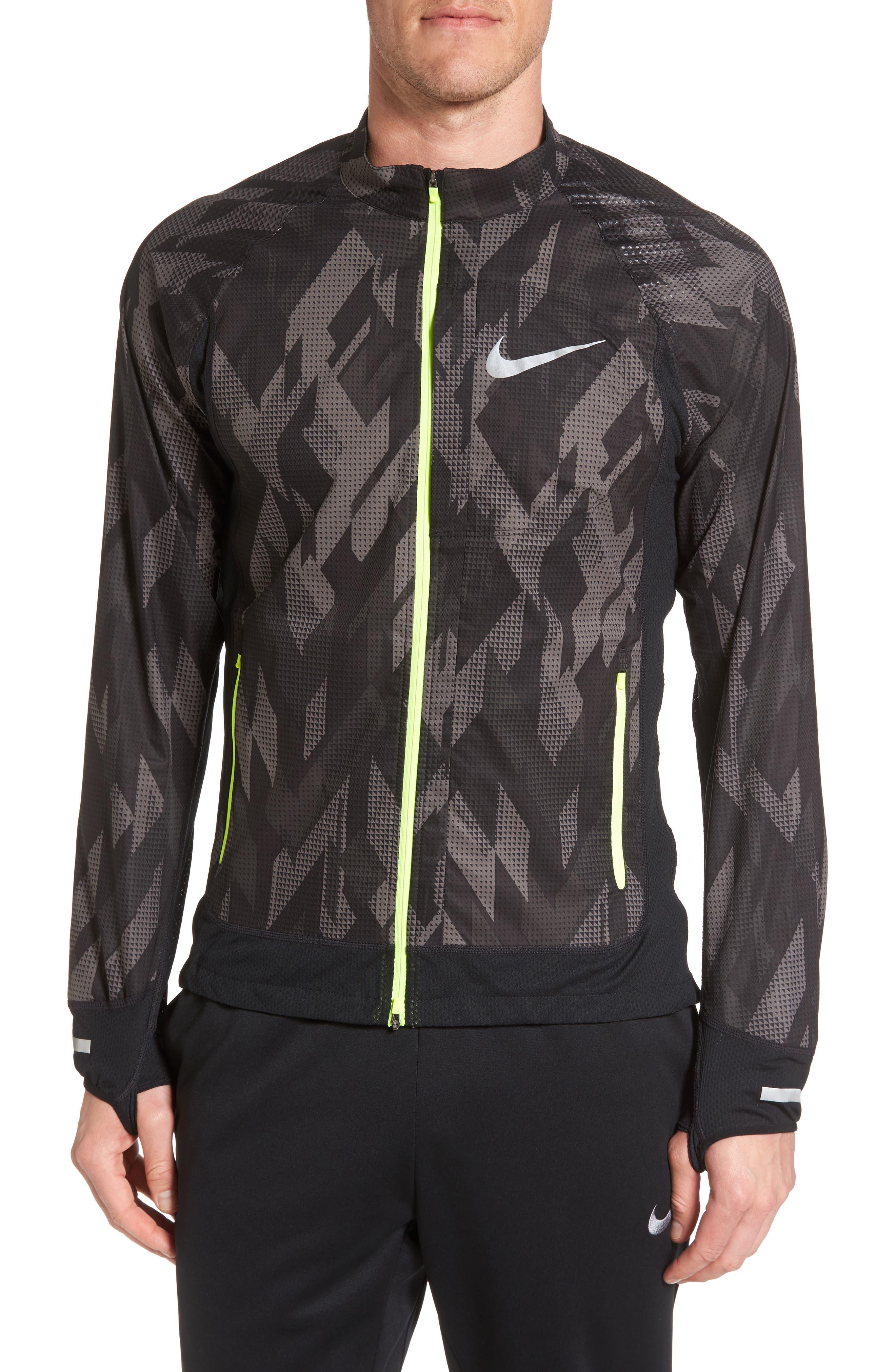 Flex Running Jacket,                             Main thumbnail 1, color,                             Black/ Black/ Volt