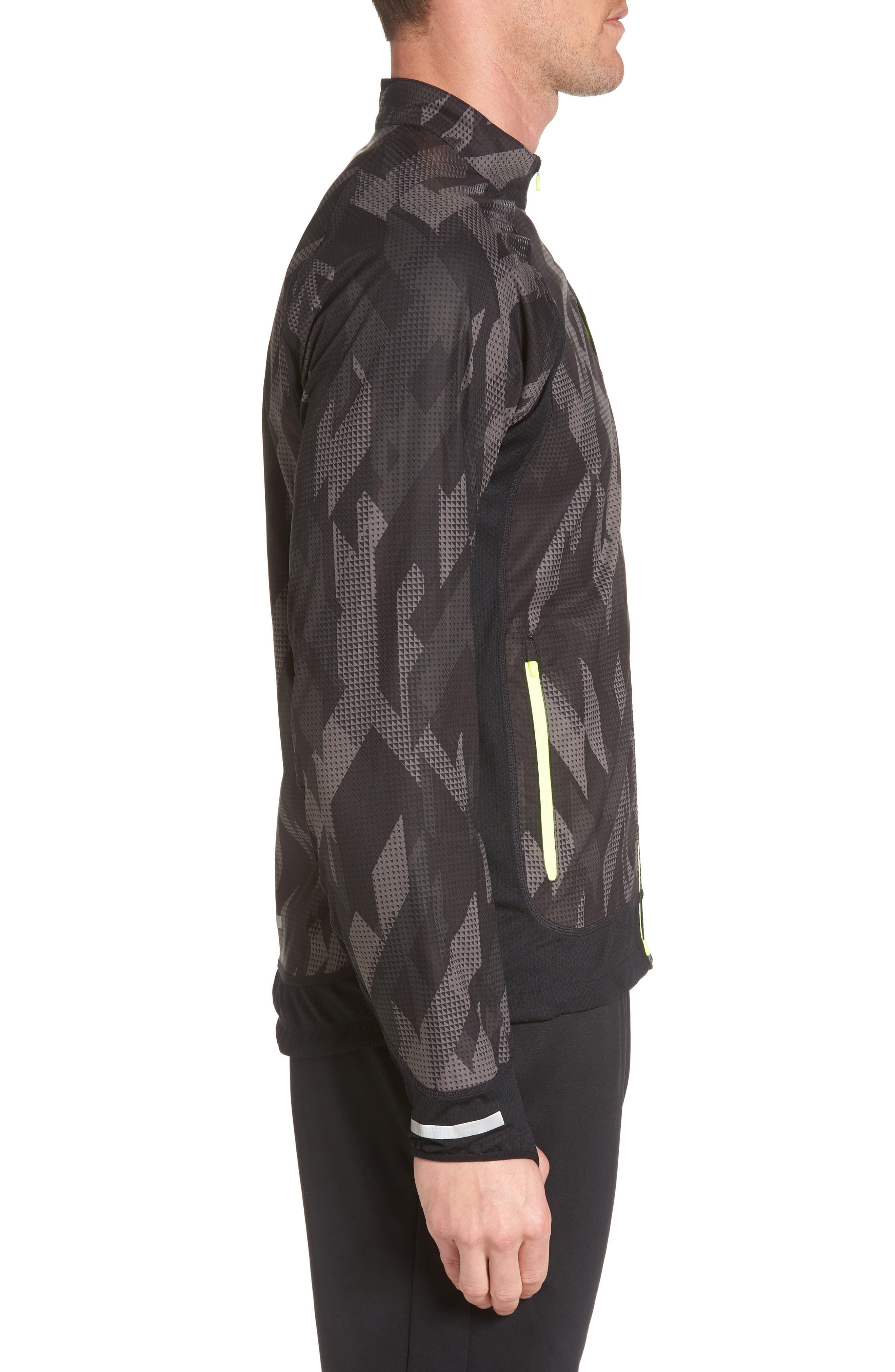 Flex Running Jacket,                             Alternate thumbnail 2, color,                             Black/ Black/ Volt