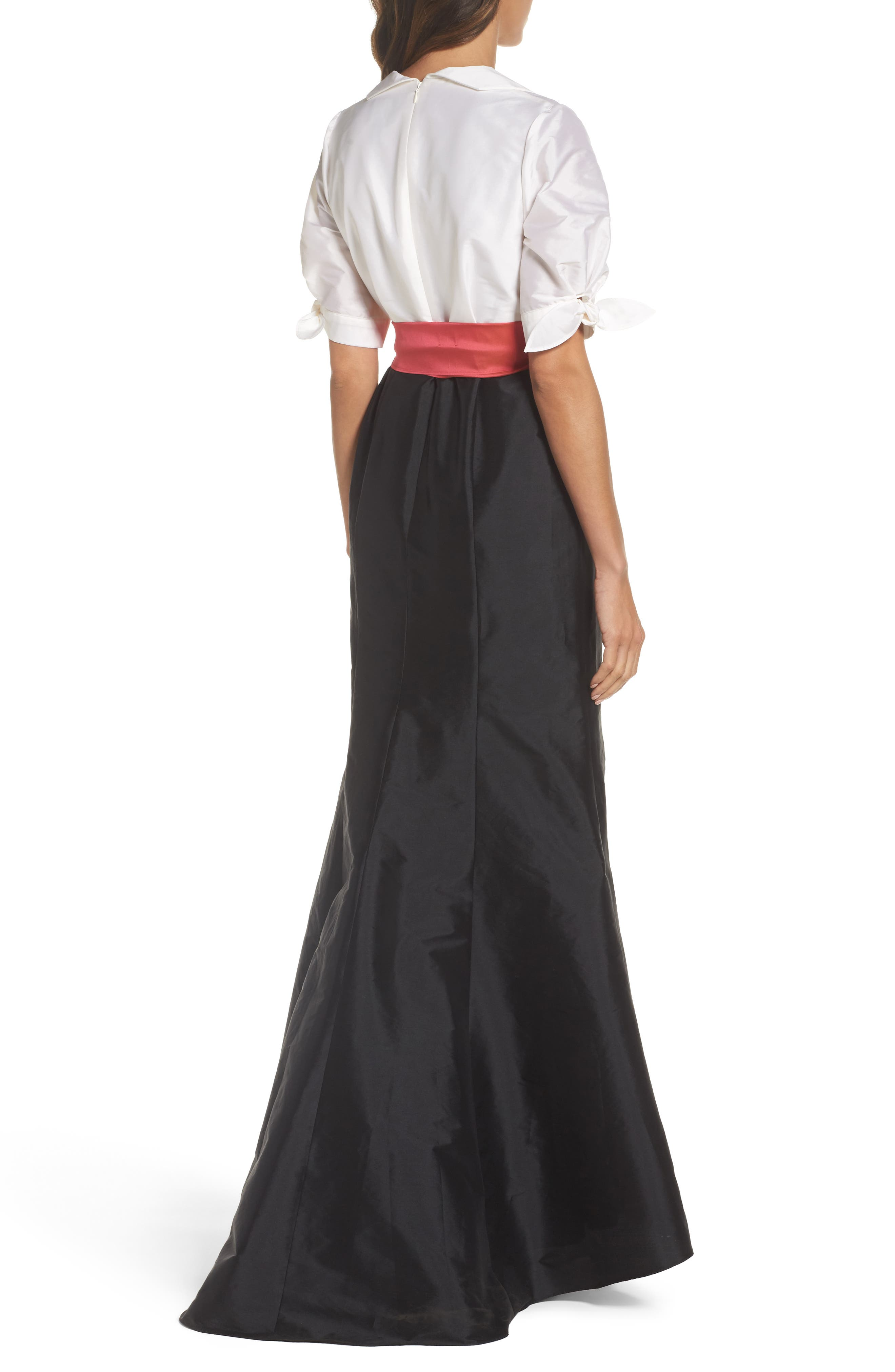 Adrianna Pappell Taffeta Mermaid Gown with Train,                             Alternate thumbnail 2, color,                             Ivory/ Black
