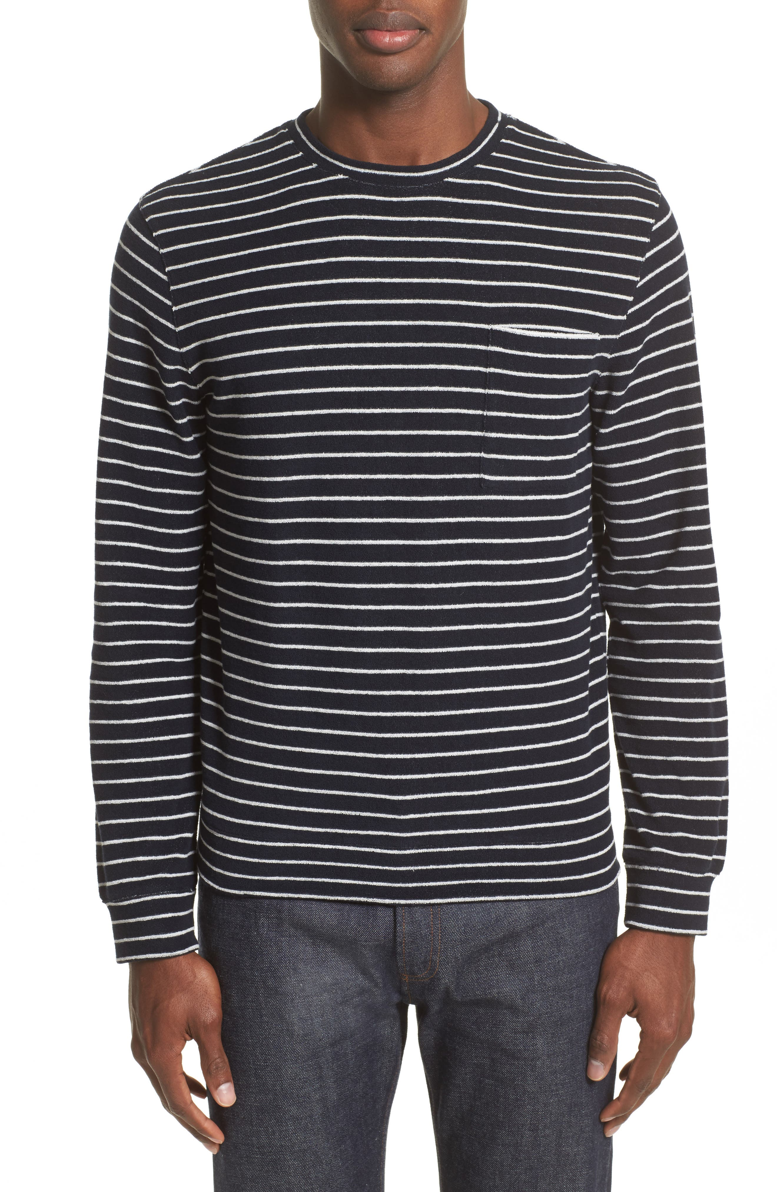 Yogi Striped Terry Sweatshirt,                         Main,                         color, Dark Navy