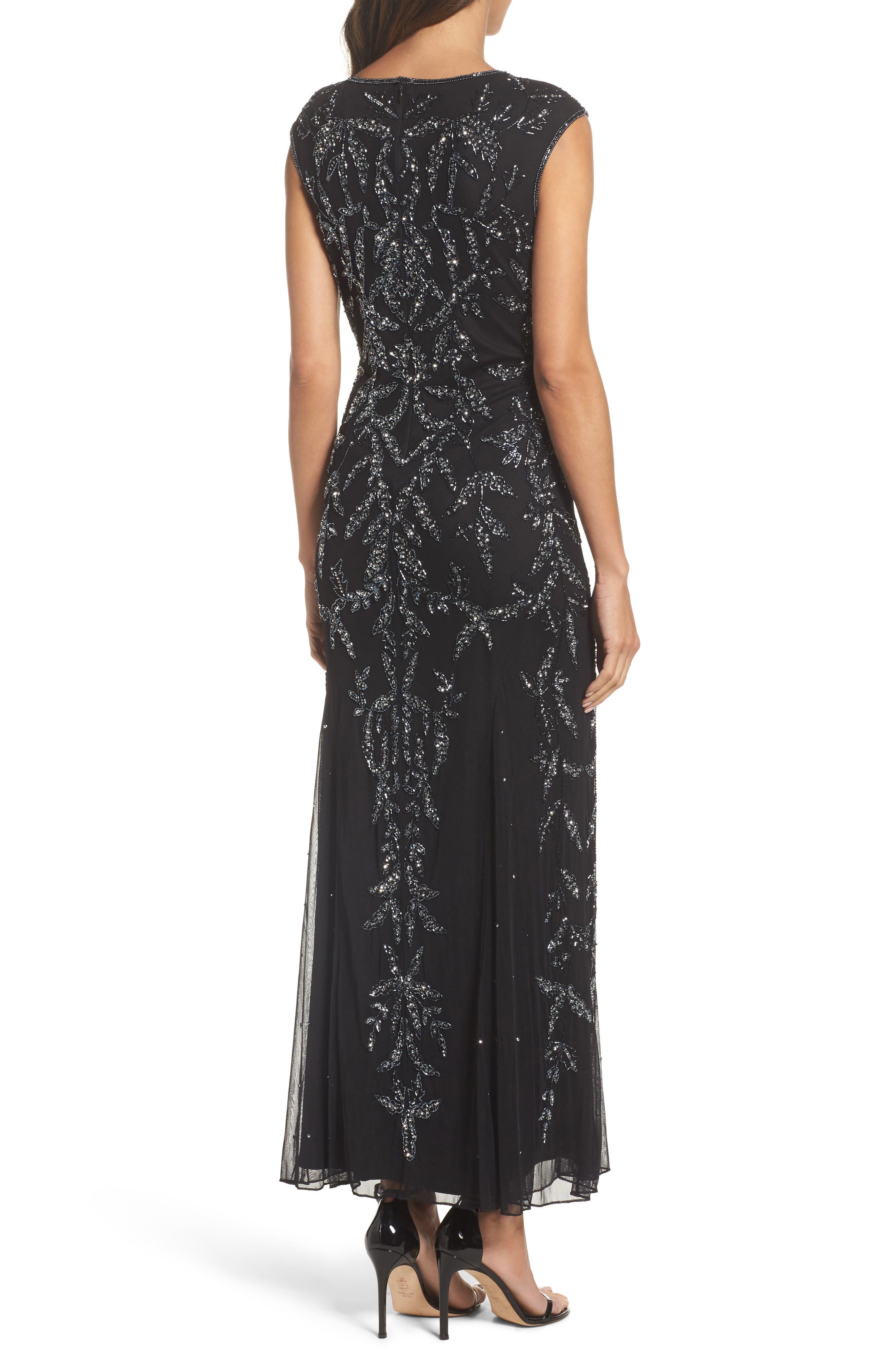 Floral Motif Embellished Gown,                             Alternate thumbnail 2, color,                             Black