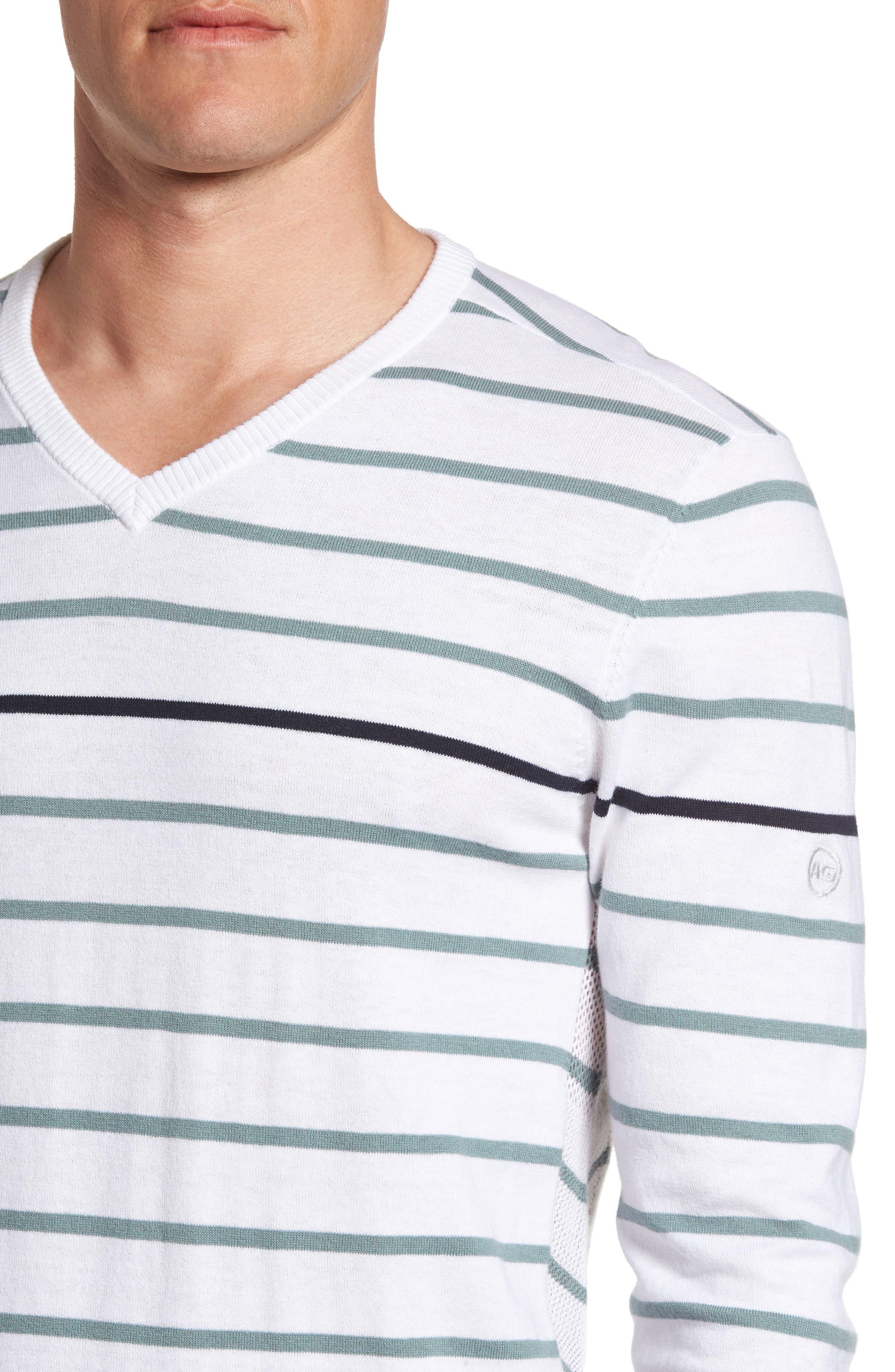 The Farrell Stripe V-Neck Sweater,                             Alternate thumbnail 4, color,                             White/ Agave Green/ Naval Blue