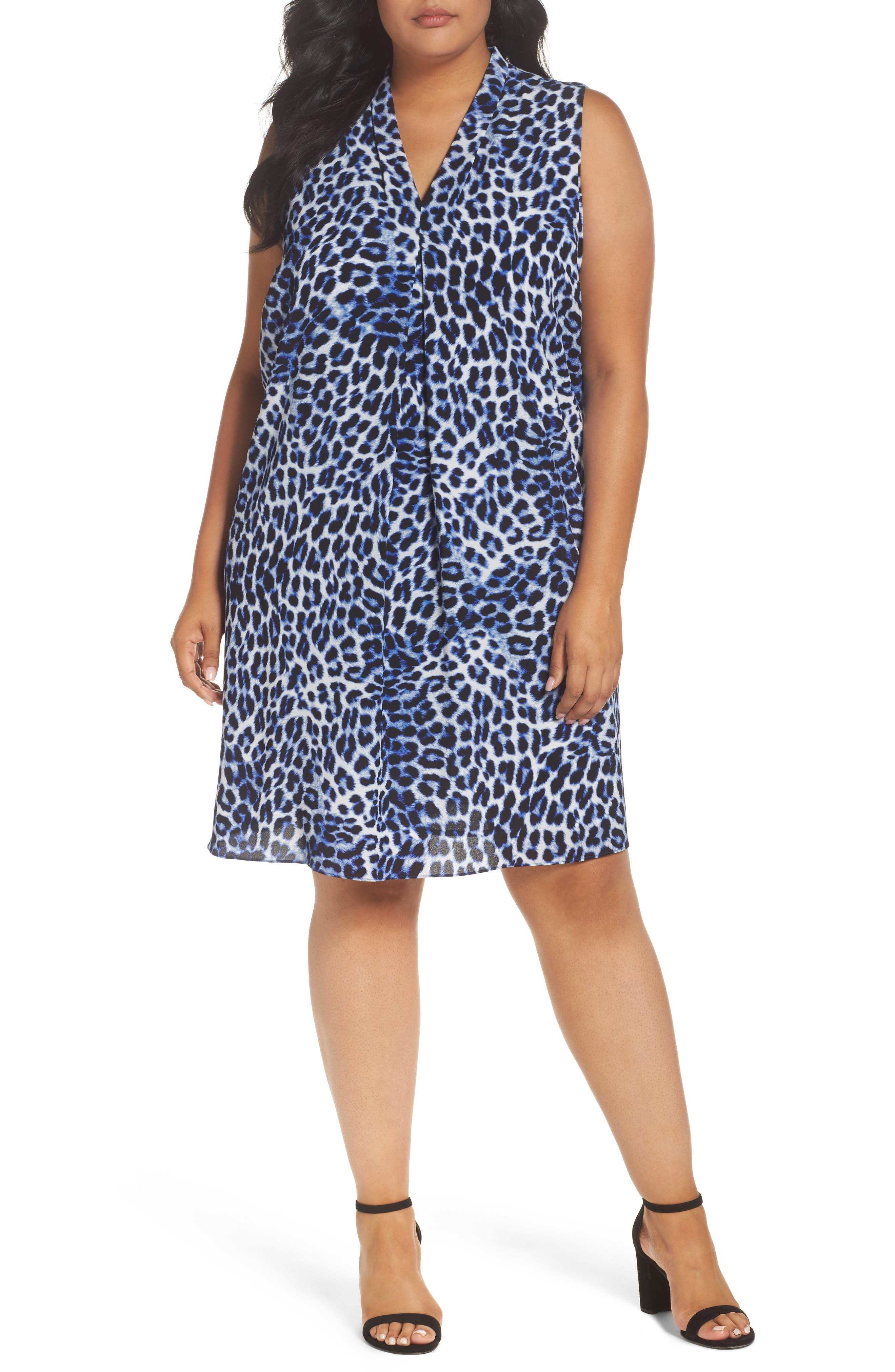 Leopard Song Inverted Pleat Shift Dress,                         Main,                         color, Nile Blue