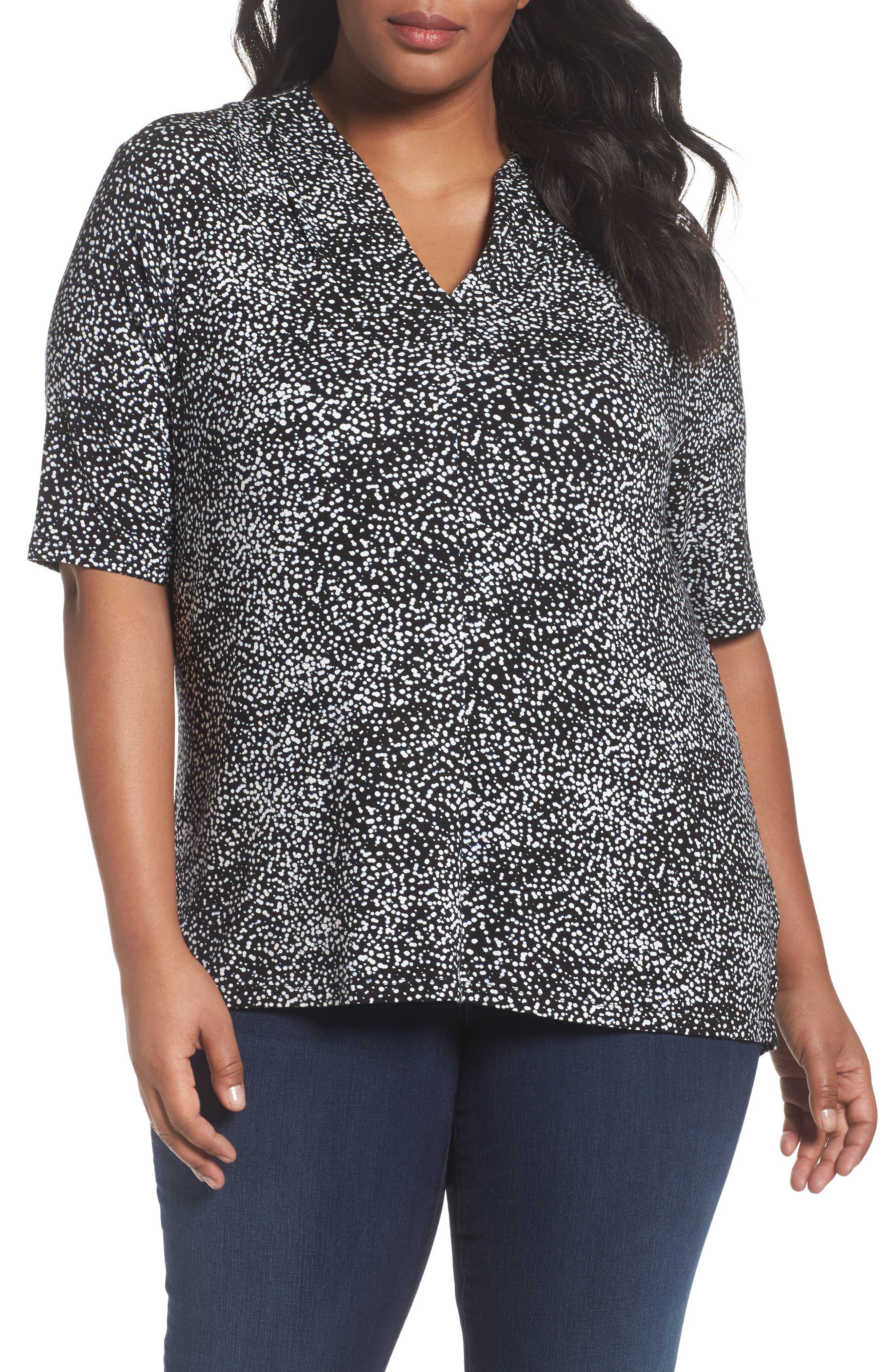 Sejour Shoulder Pleat Jersey Top (Plus Size)