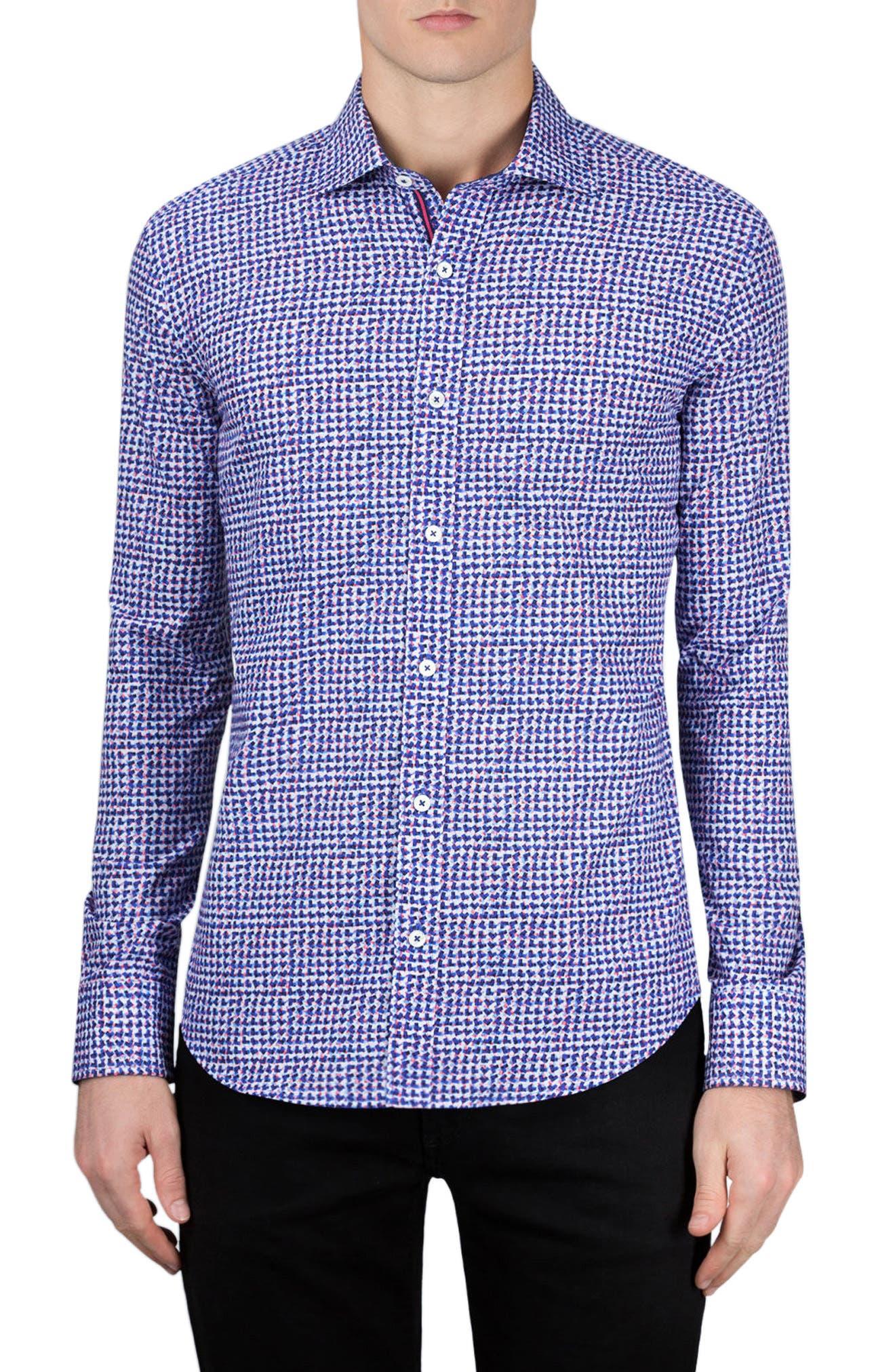 Shaped Fit Print Sport Shirt,                         Main,                         color, Night Blue