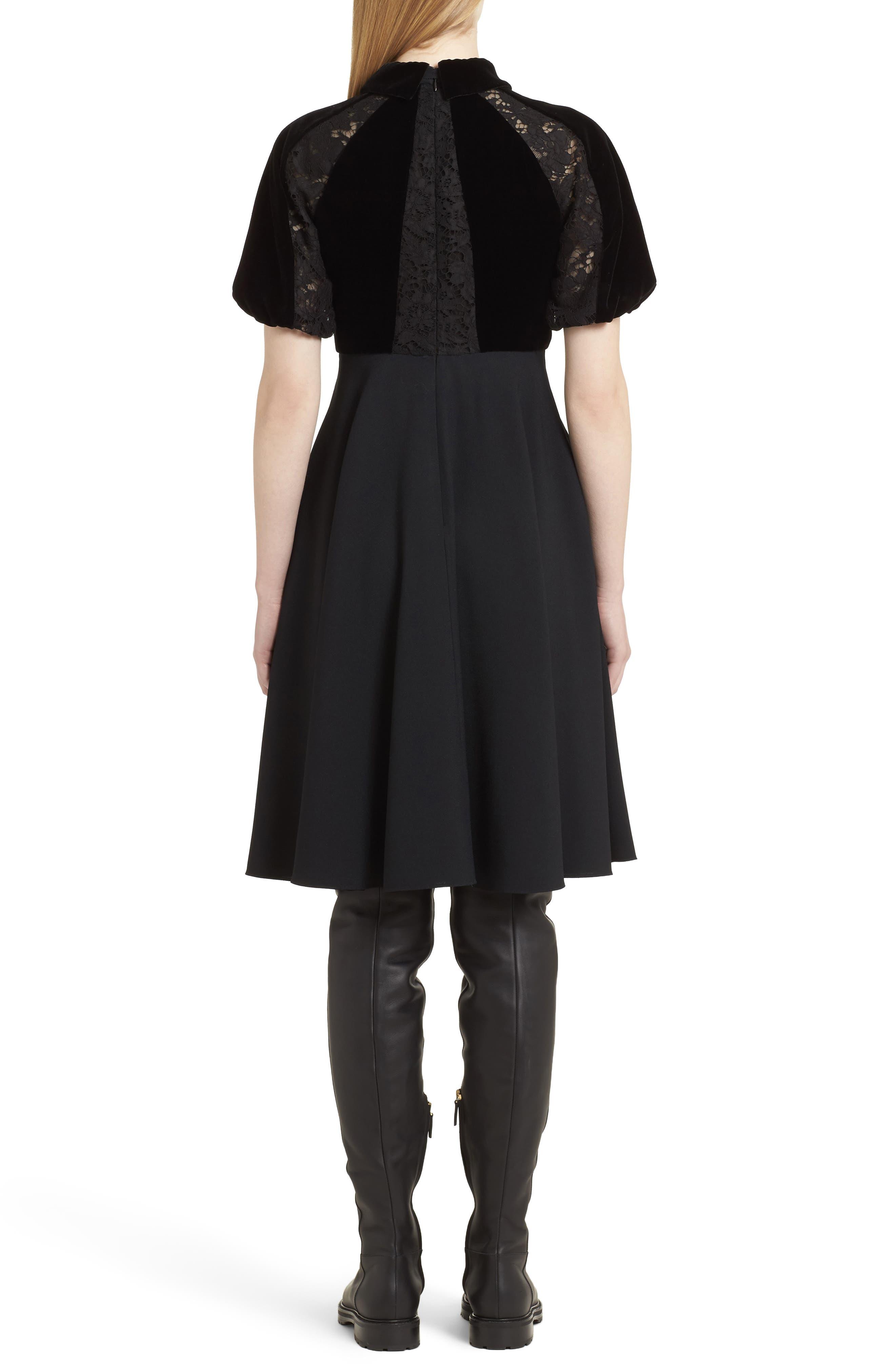 Guipure Lace Inset Crepe Dress,                             Alternate thumbnail 2, color,                             Black