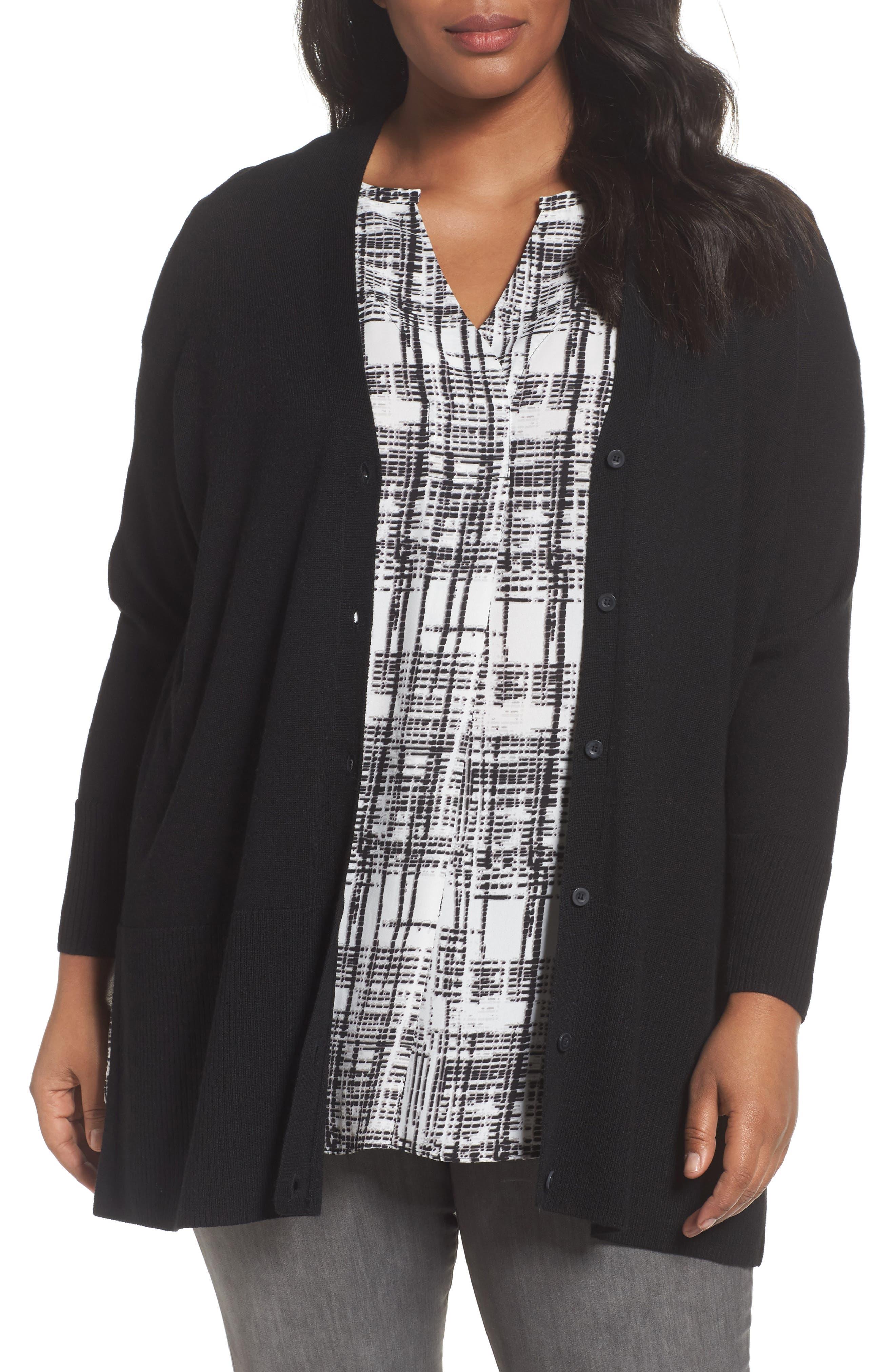 V-Neck Wool Blend Cardigan,                         Main,                         color, Black