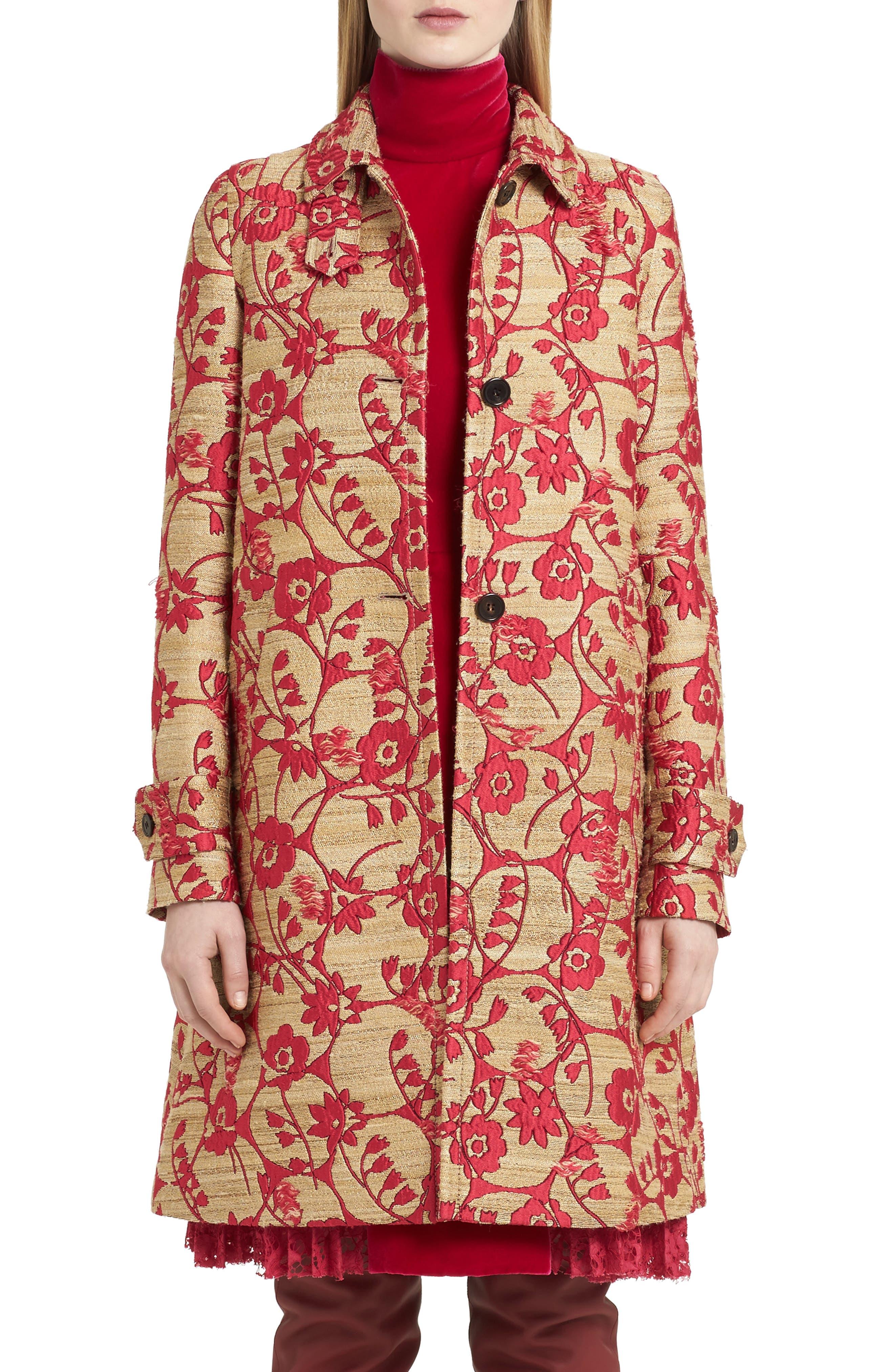 Flower Circles Jacquard Coat,                         Main,                         color, Pink/ Gold