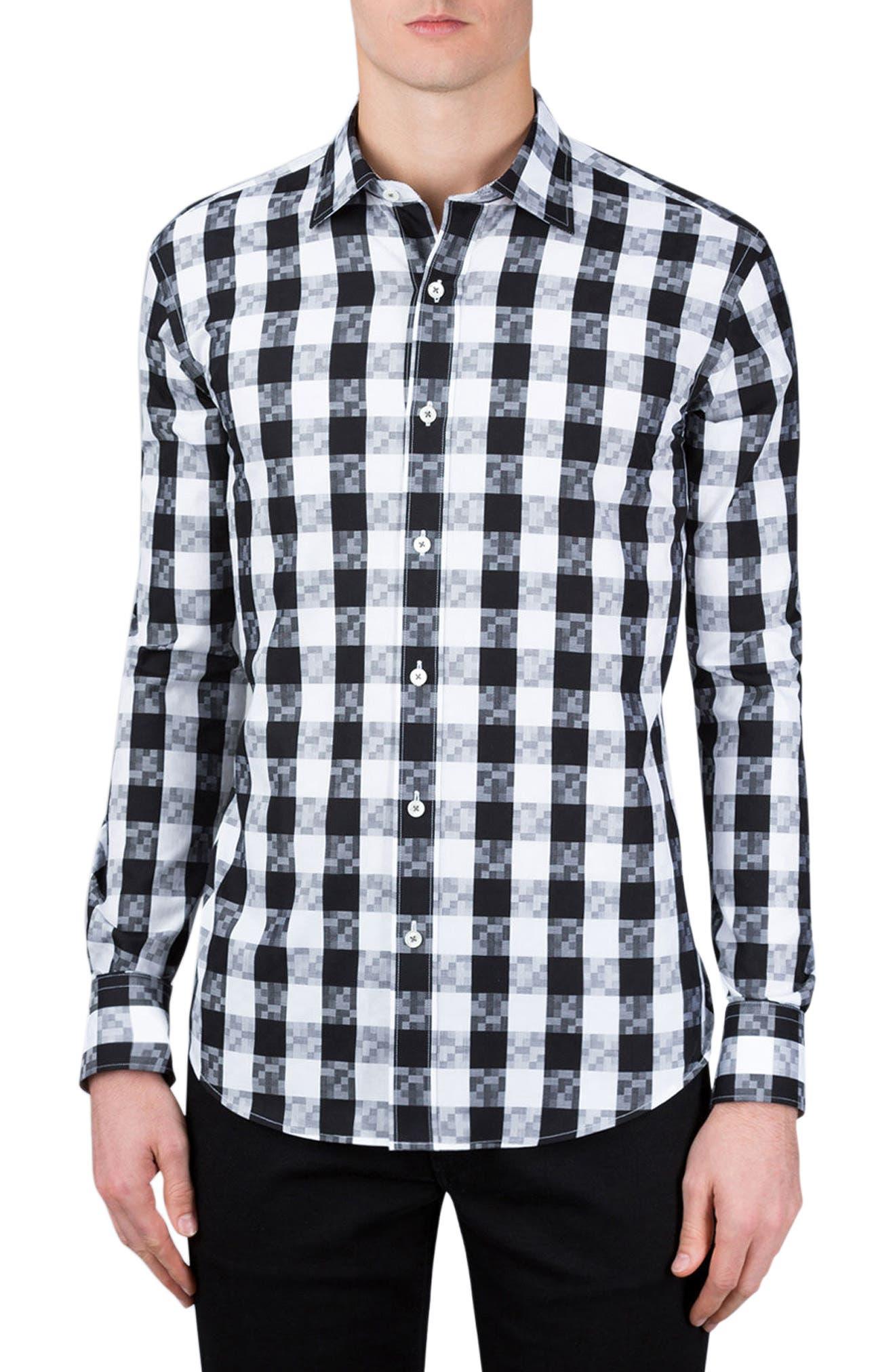 Classic Fit Gingham Sport Shirt,                             Main thumbnail 1, color,                             Black