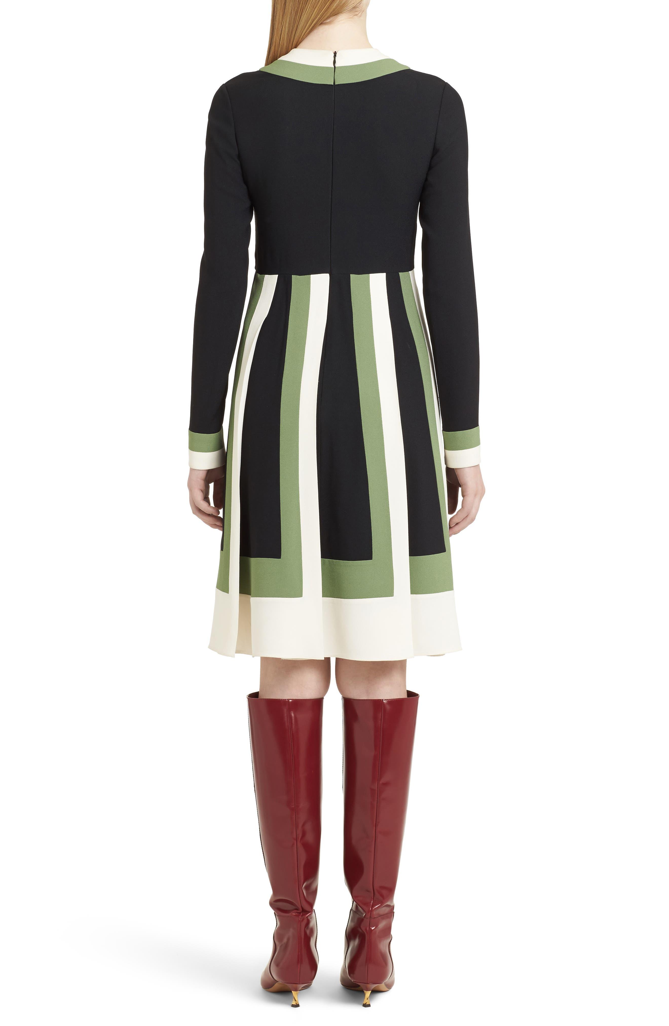 Multicolor Pleat Crepe Dress,                             Alternate thumbnail 2, color,                             Ivory/ Black/ Green