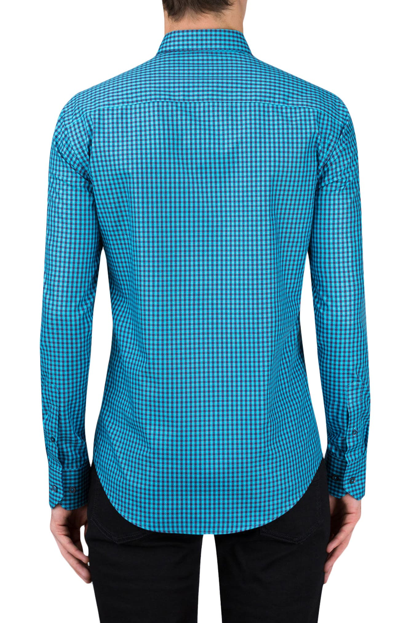Shaped Fit Gingham Sport Shirt,                             Alternate thumbnail 2, color,                             Turquoise